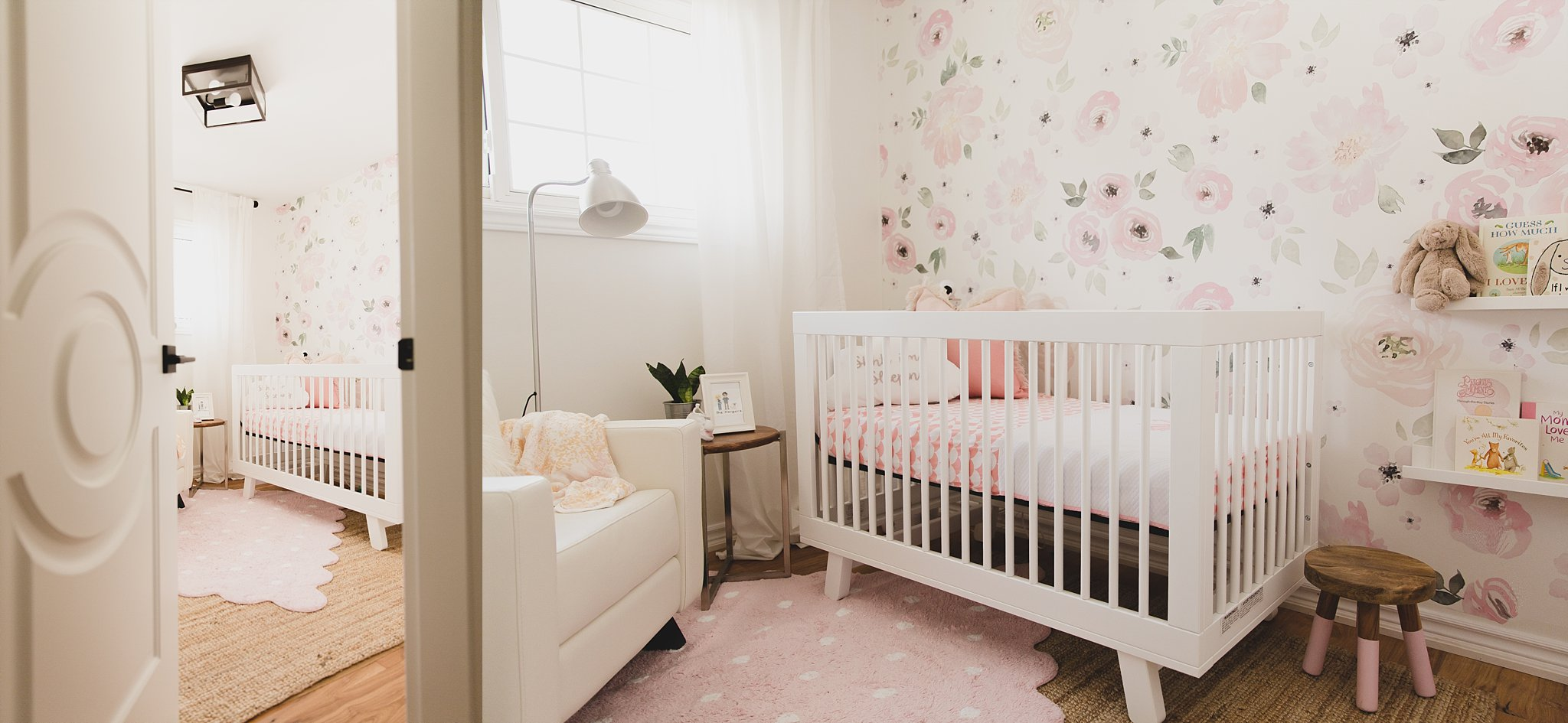 A picture of a girls floral nursery with crib and dresser from Snuggle Bugz and floral decal from Rocky Mountain decals. Designed by Jaclyn Harper Designs in Burlington, Ontario.Photographed by Rachael Little Photography near Woodstock, Ontario.