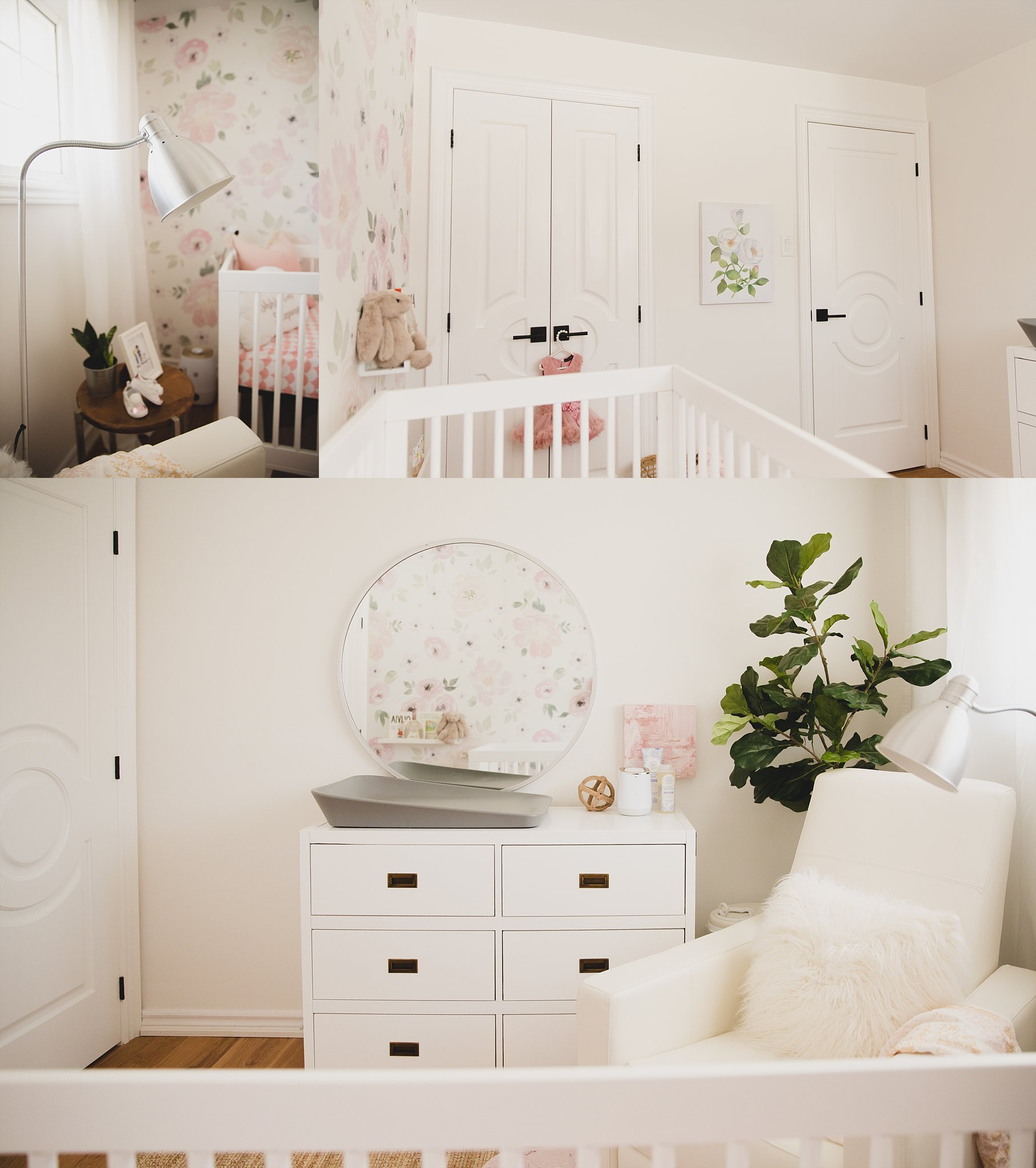 Beautiful baby girls nursery in Canada. Space designed and styled by Jaclyn Harper.Photographed by Rachael Little Photography in Woodstock, ON.