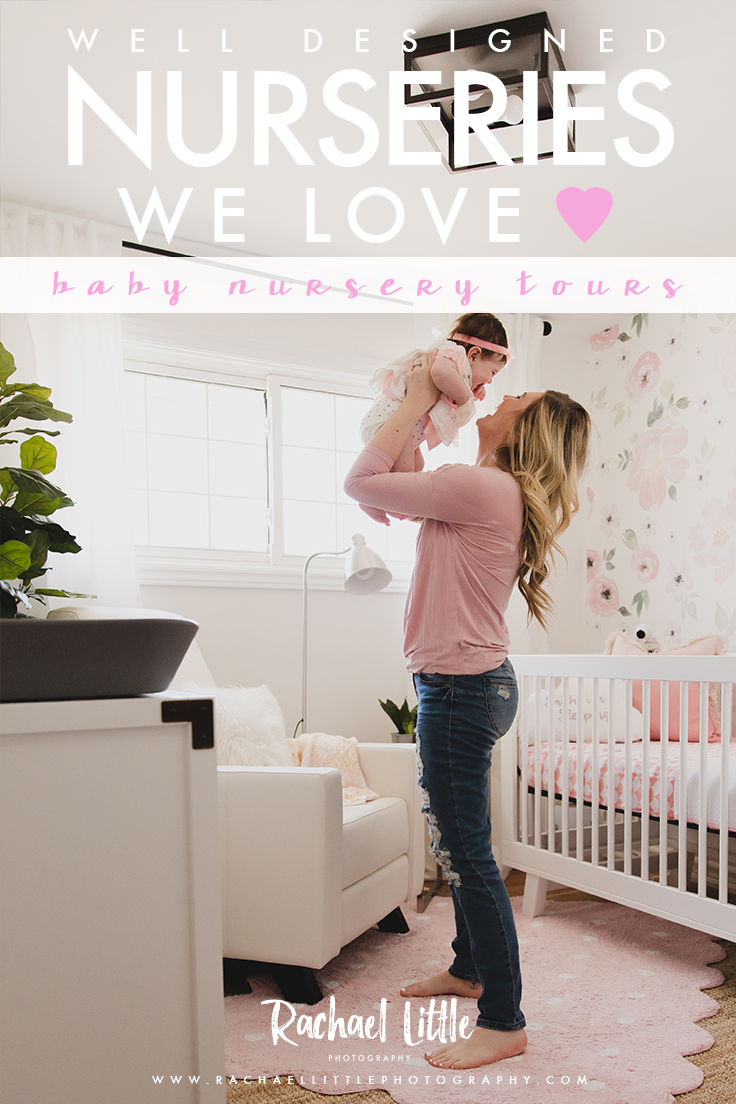 Photograph of a mom with her baby in a pink and white girls baby nursery, designed by Stylish Jaclyn Harper Colville.Features Nestled by Snuggle Bugz furniture, wallpaper decal from Rocky Mountain Decals.Photographed by Rachael Little Photography near Burlington, Ontario.