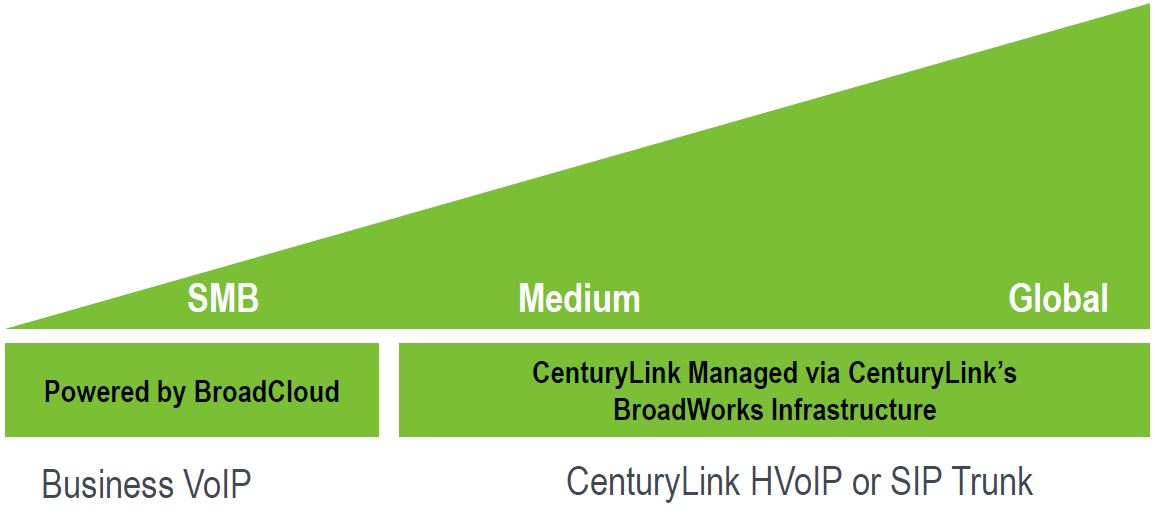 CenturyLink has two hosted offerings based on BroadSoft technology, one that it hosts itself, and the new Business VoIP which is hosted by BroadSoft.