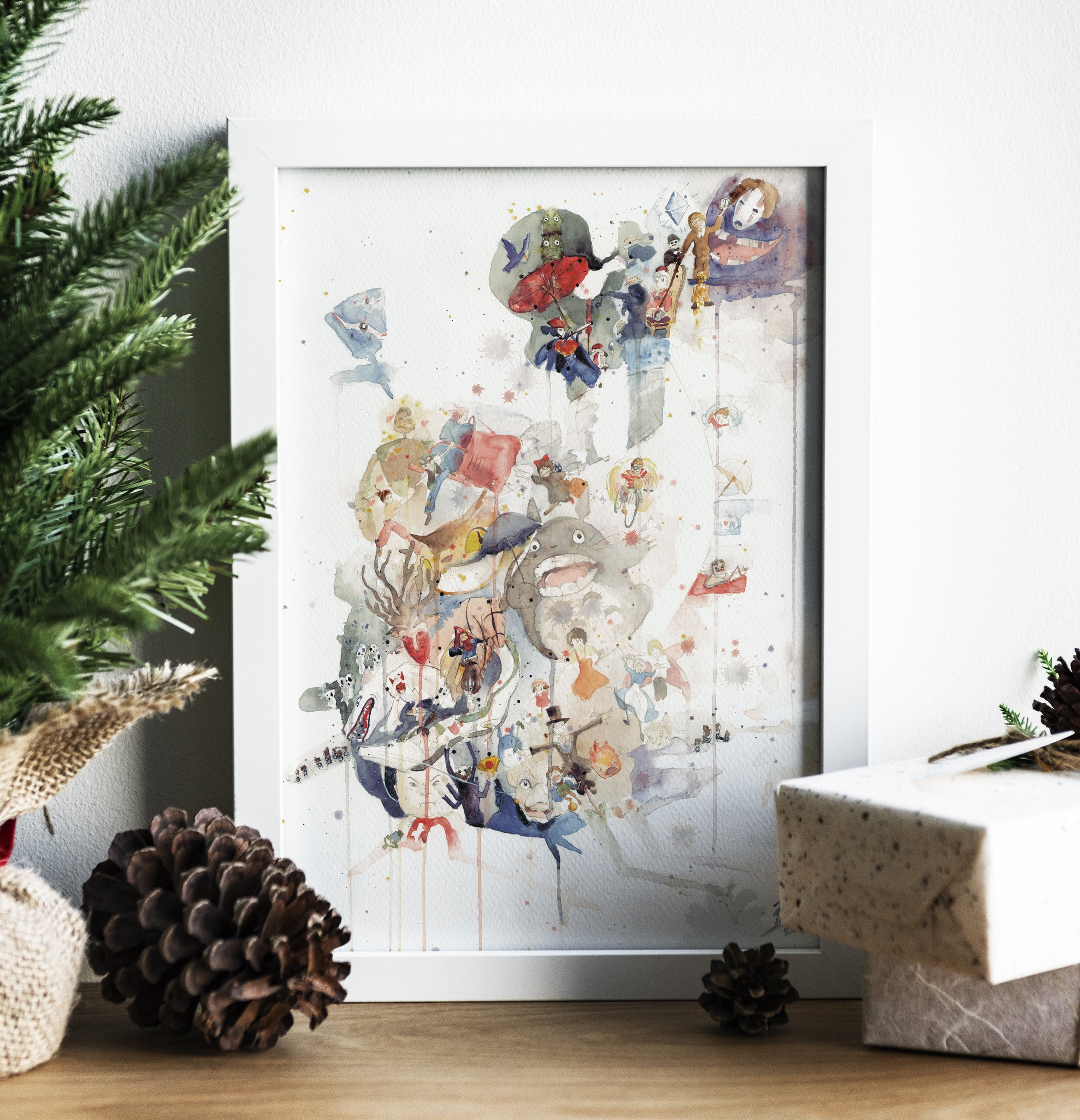 """Watercolor Ghibli Print starting at $25  HERE   FUN FACT: This painting is one of the few painted in an 18 x 24"""" size. It took over 80+ hours of planning, prep, and execution. It's also in the silhouette of Howl's Moving Castle!"""