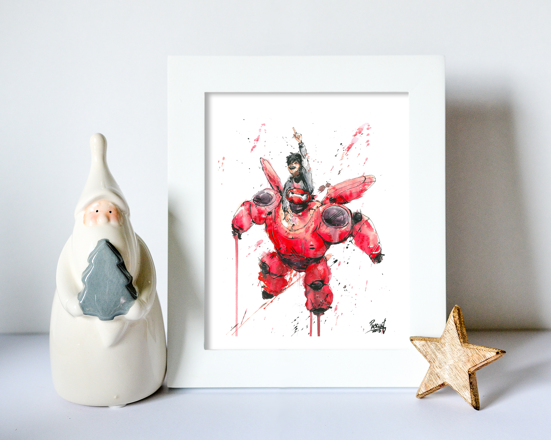 Watercolor Baymax print s tarting at $15  HERE   FUN FACT: Artists use reference photos to draw particular poses or angles of the face or body. Geoff needed a reference for Hiro, so he based his Hiro on a photo of himself. The resemblance is quite similar!