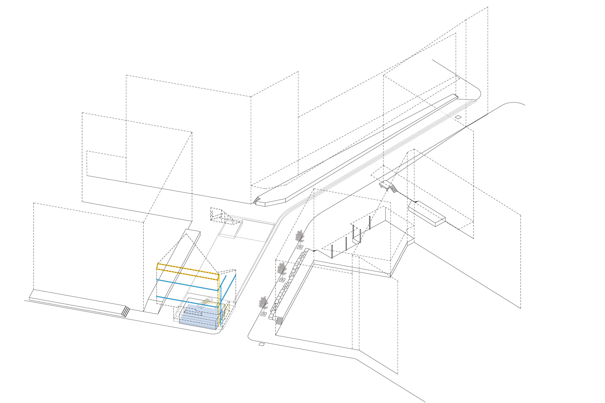 Irrigation, cisterns and pipes, and electrical system supporting greenwall, public space.