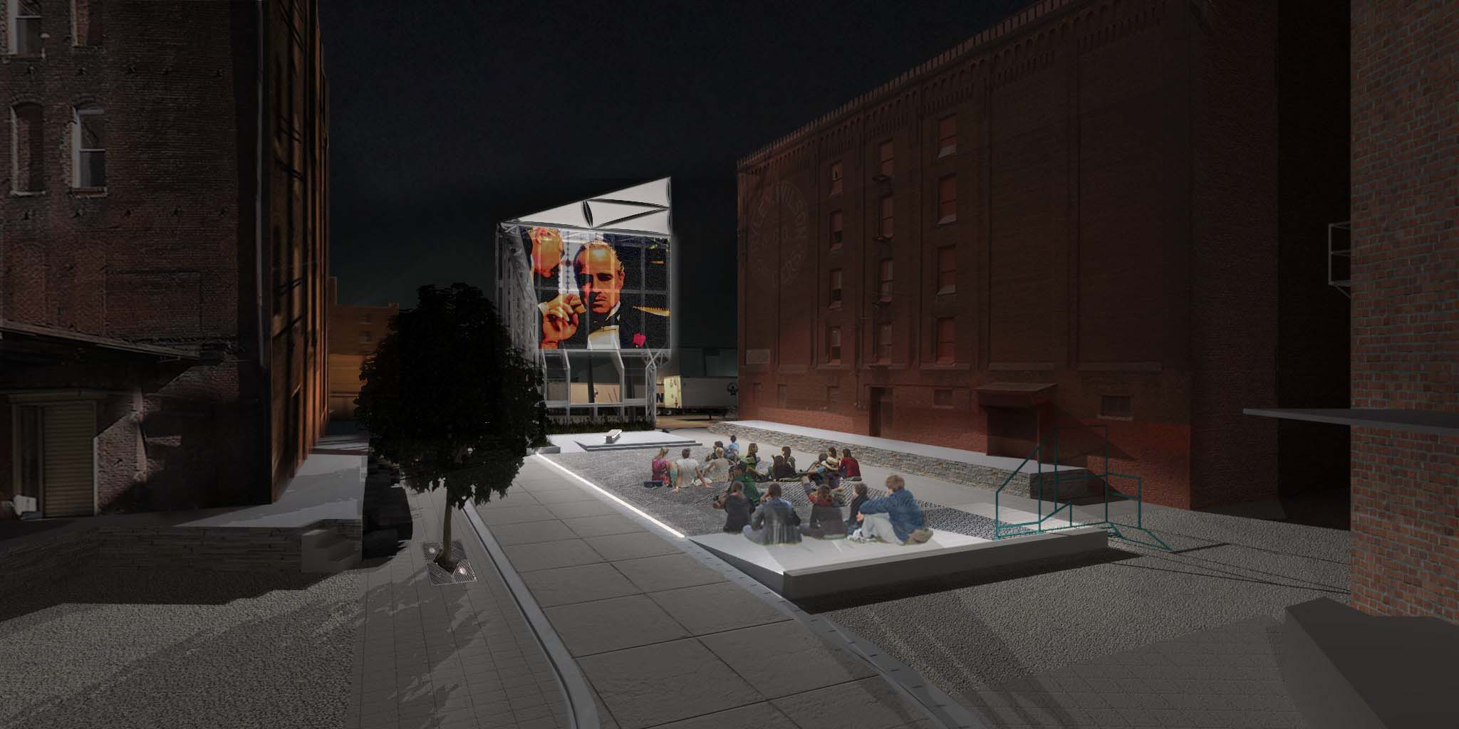 The rendering illustrates view of plaza at night with projections on the green wall.