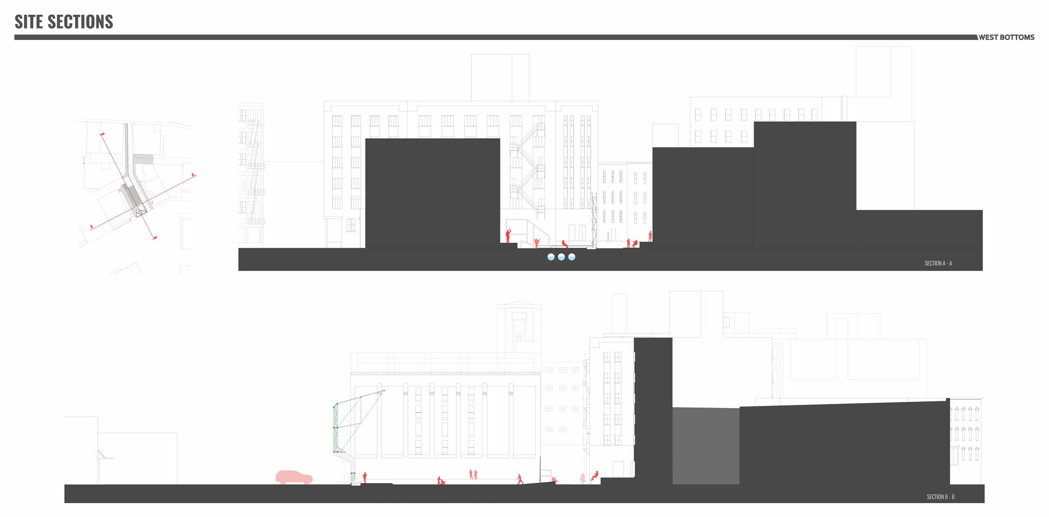 The illustration demonstrates the elements of proposed design elements along the longitudinal section of the alley.   View a pdf of this image to zoom in.