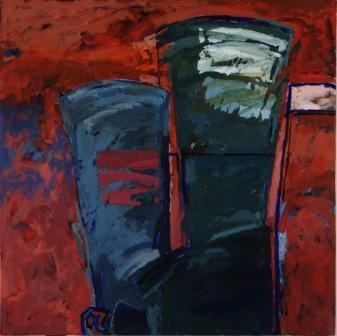 Terence King (b.1947) Windpump (second from a triptych) Acrylic on board