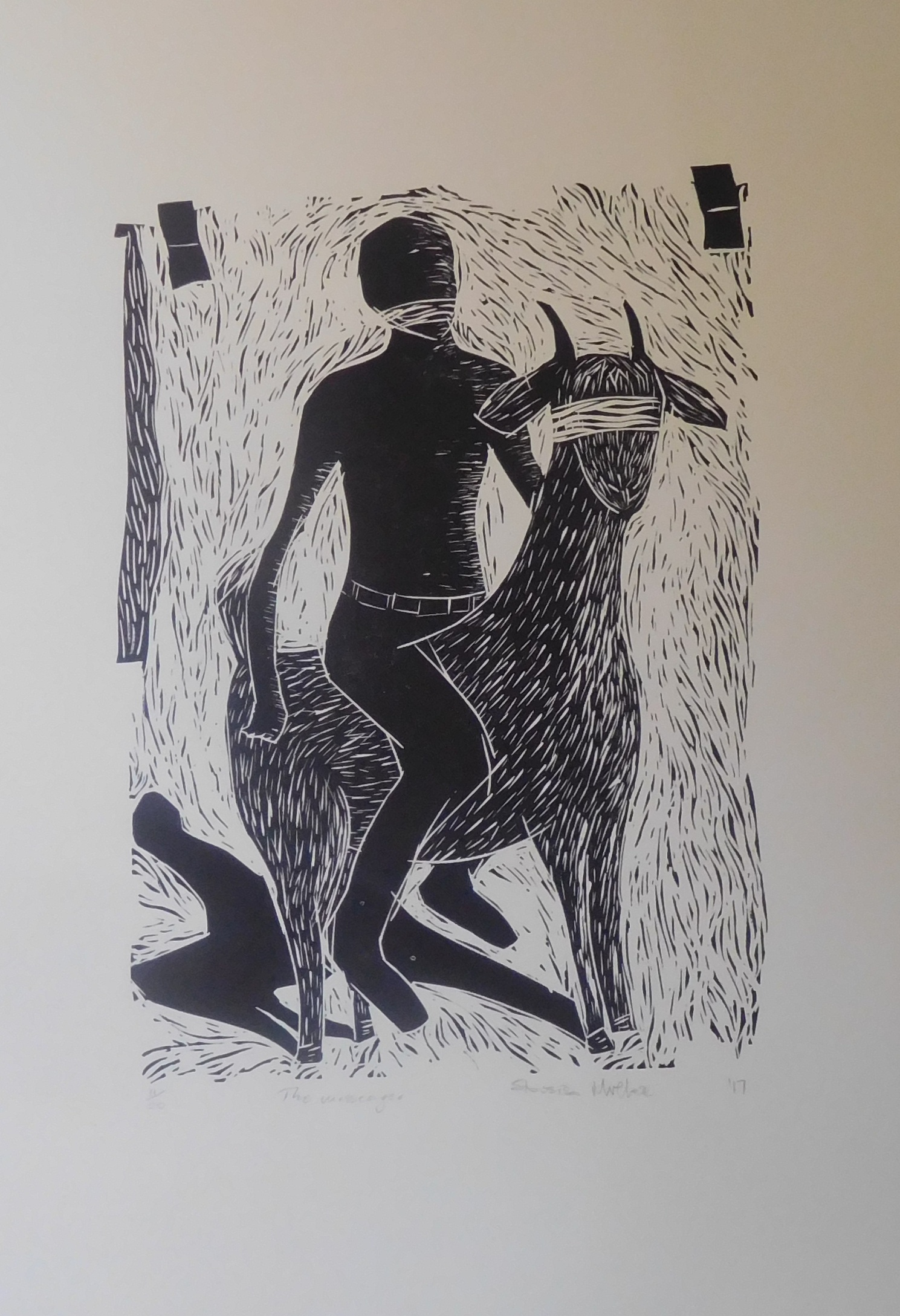 Above: Sibusiso Mvelase, The Messenger, linocut print