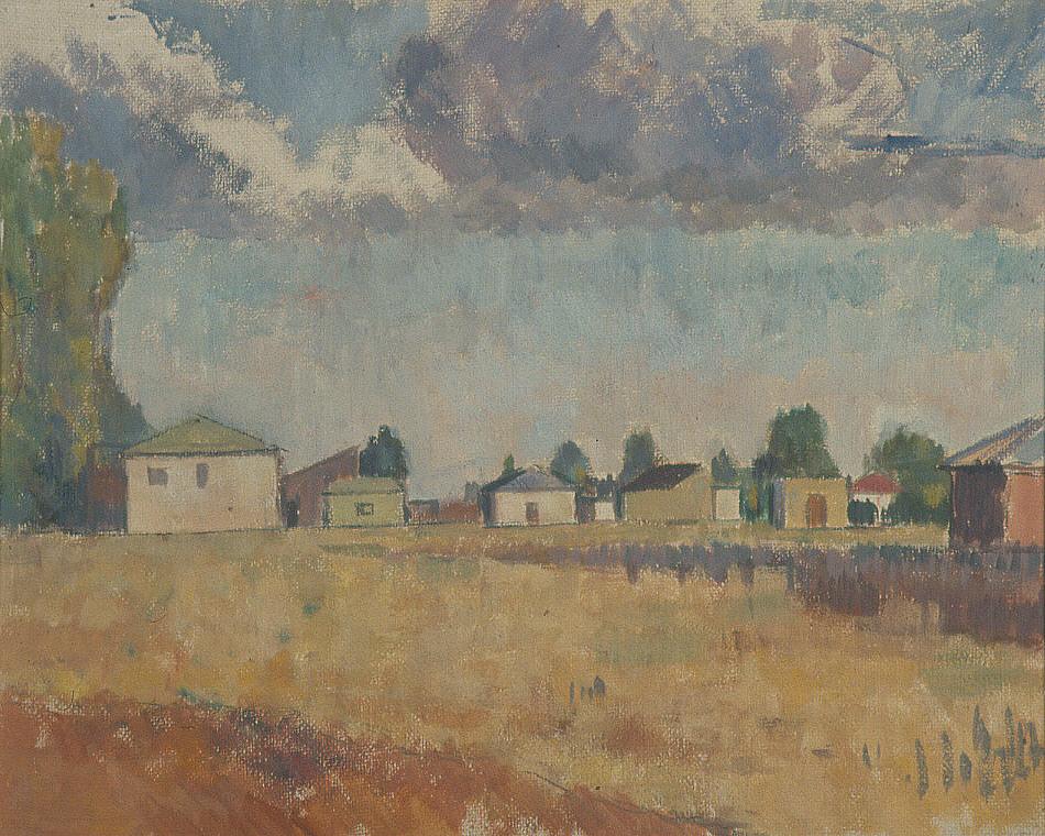 Frank G. Bell (1910-1943), Lyttleton Airfield, oil on board