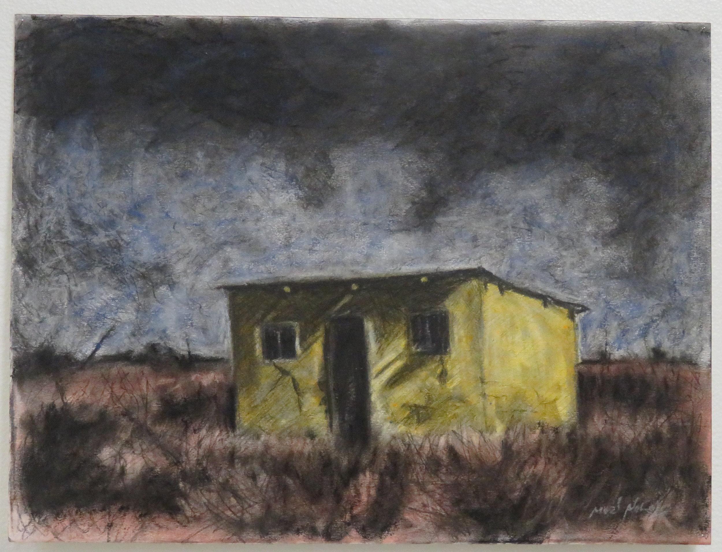 Above: Muzi Ndlela, Haunted Home, pastel on paper
