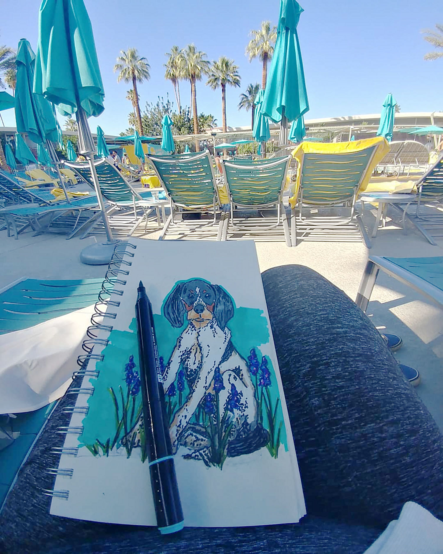 sketching by the pool