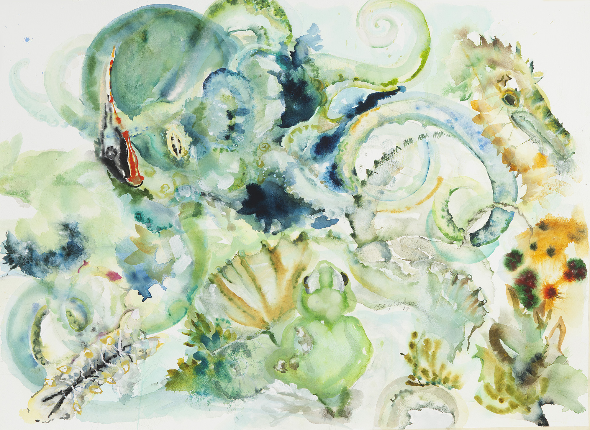 Octopus, 2017, Watercolor on paper, 26 x 30 in.