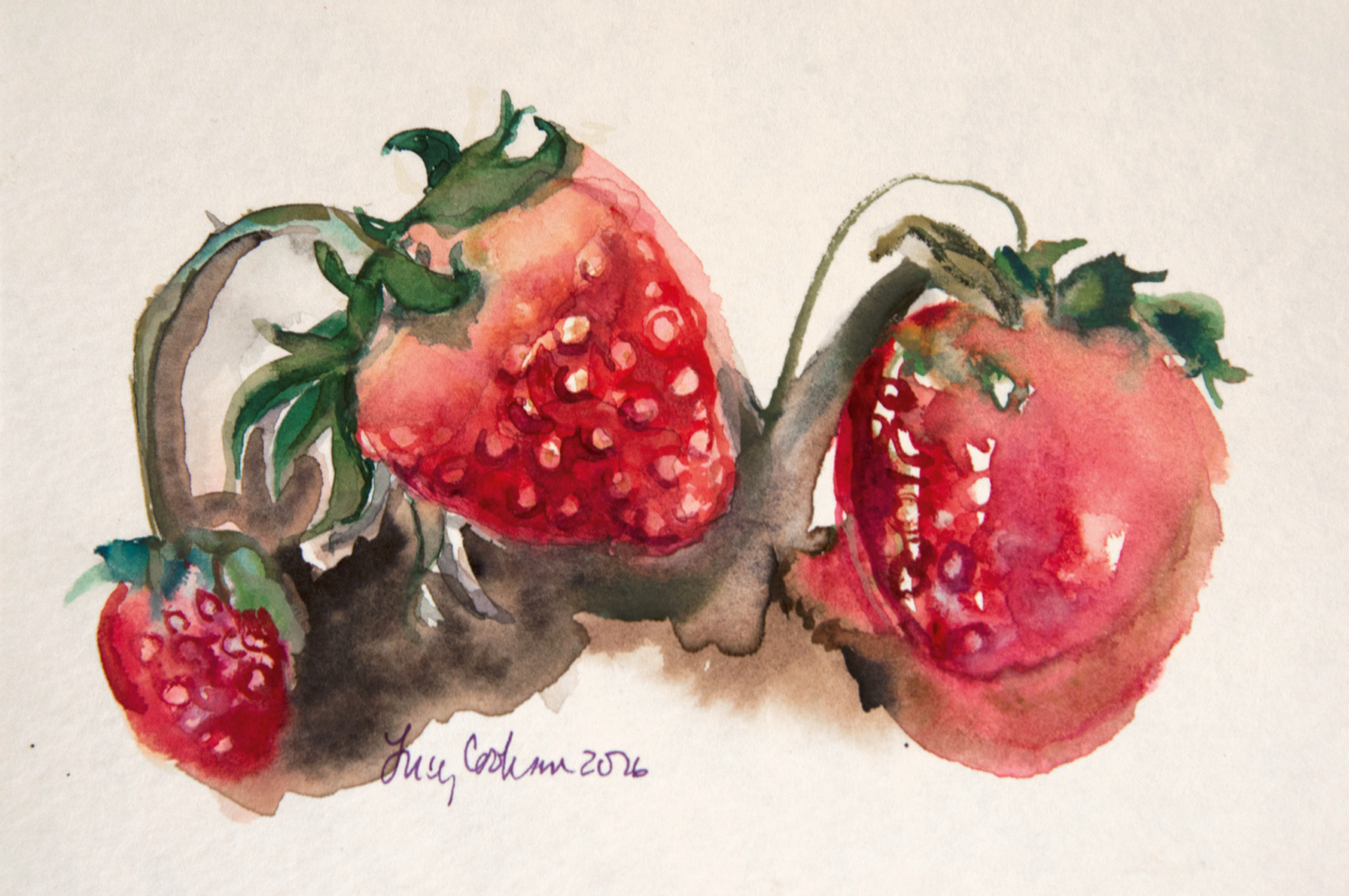 Strawberries, 2016, Watercolor on paper, 7 x 9 in.