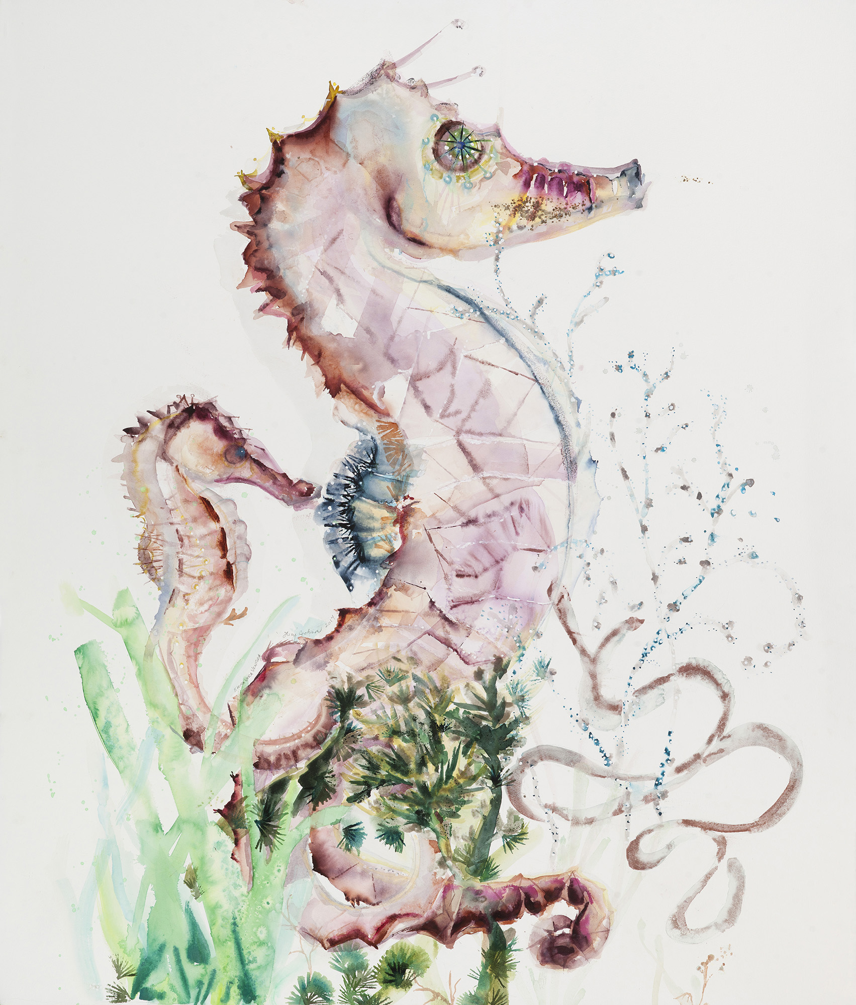 Seahorse with Baby, 2014, Watercolor on paper, 50 x 42.5 in.