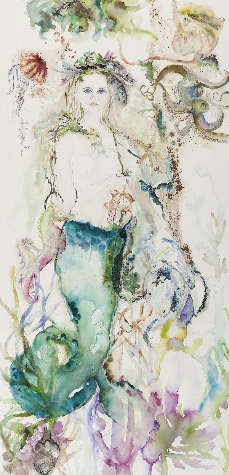 Mermaid (Allison's Mermaid), 2014, Watercolor on paper, 60 x 40 in.