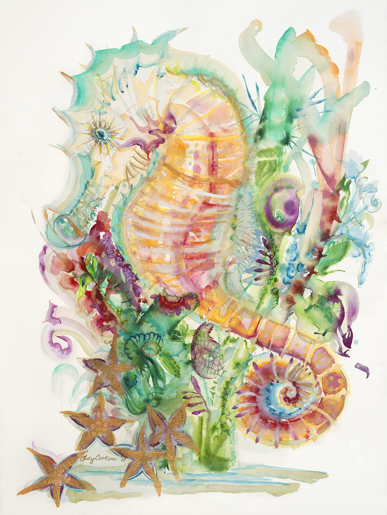 Seahorse, 2019, Watercolor on paper, 22 x 30 in.