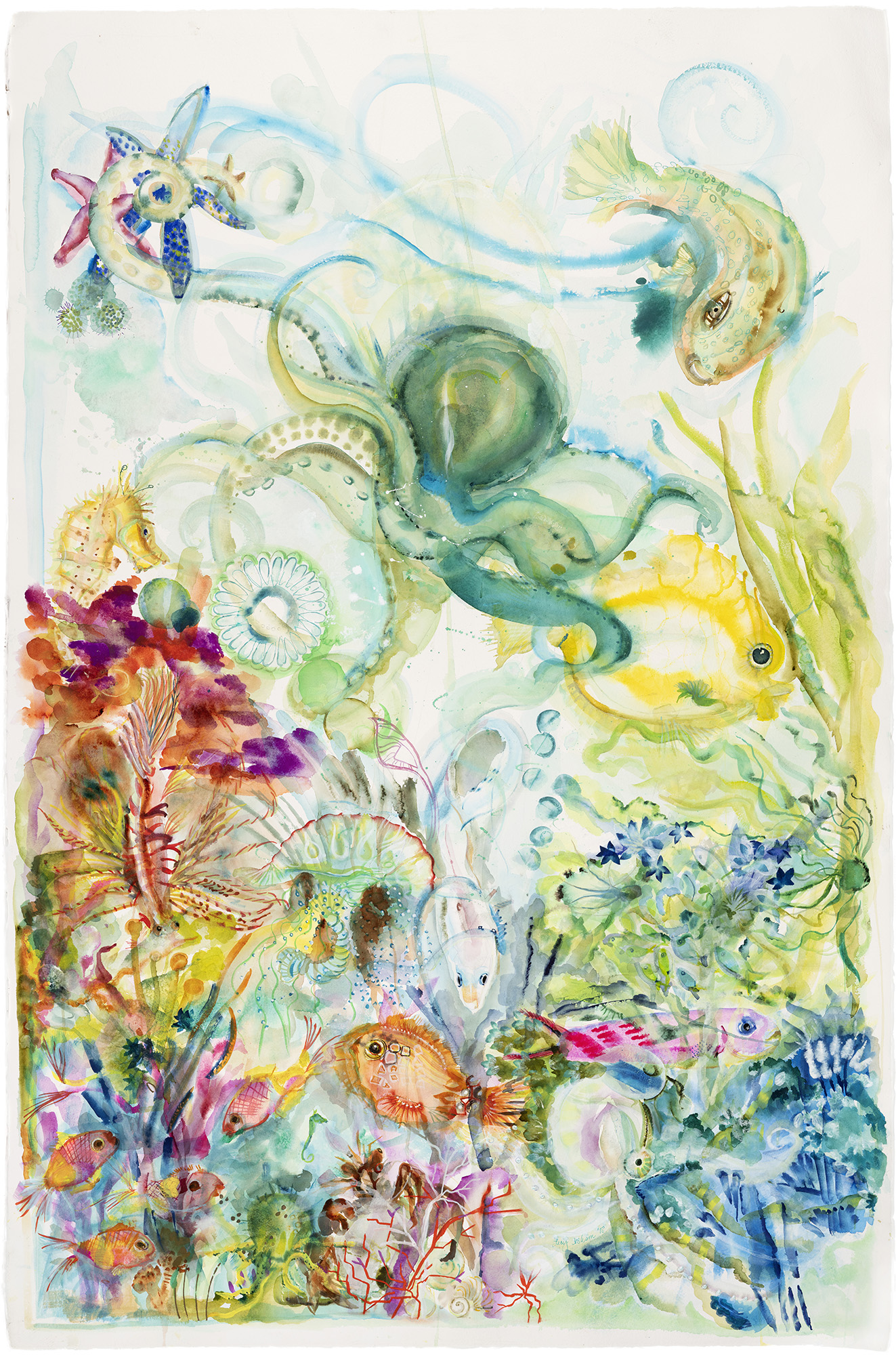 Under Sea, 2018, Watercolor on paper, 60 x 40 in.