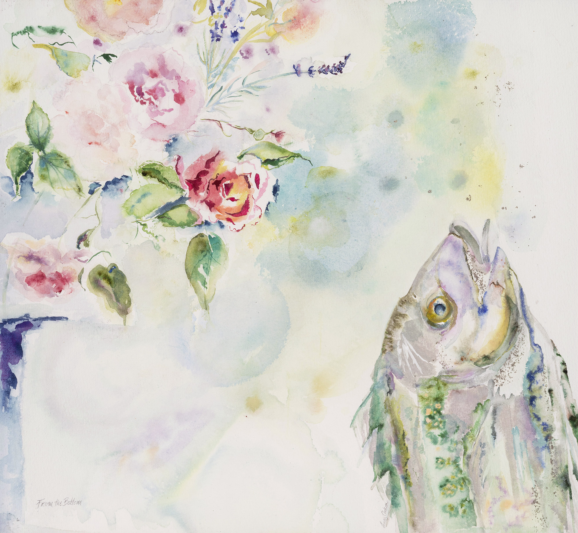 From the Bottom, (Fish and Roses), 2011, Watercolor on paper, 29 x 30 in.