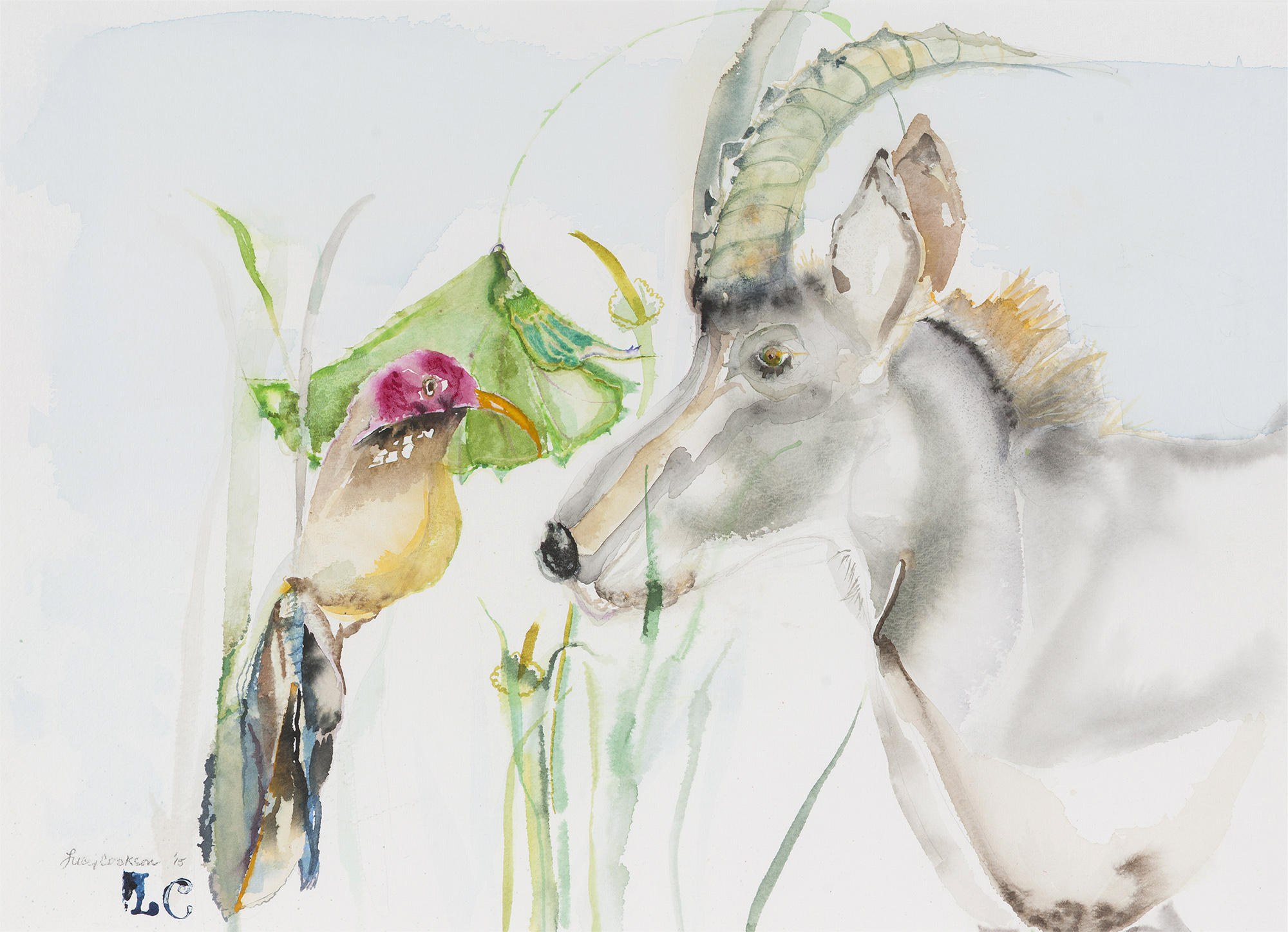 East Meets West in the South, 2015, Watercolor on paper, 28.5 x 26 in.