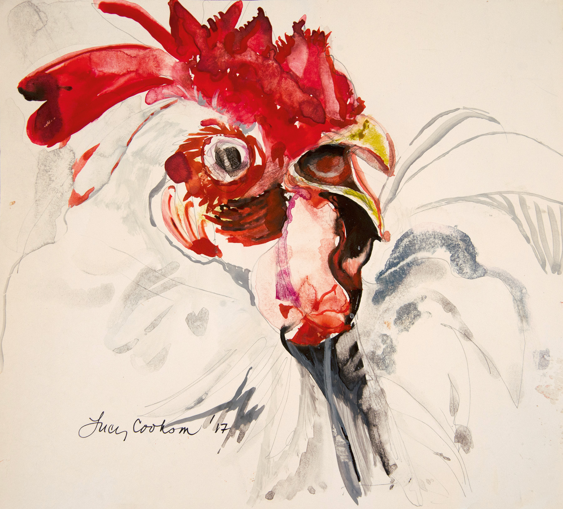 Little Shiny Rooster, 2017, Watercolor on paper, 12.5 x 13 in.