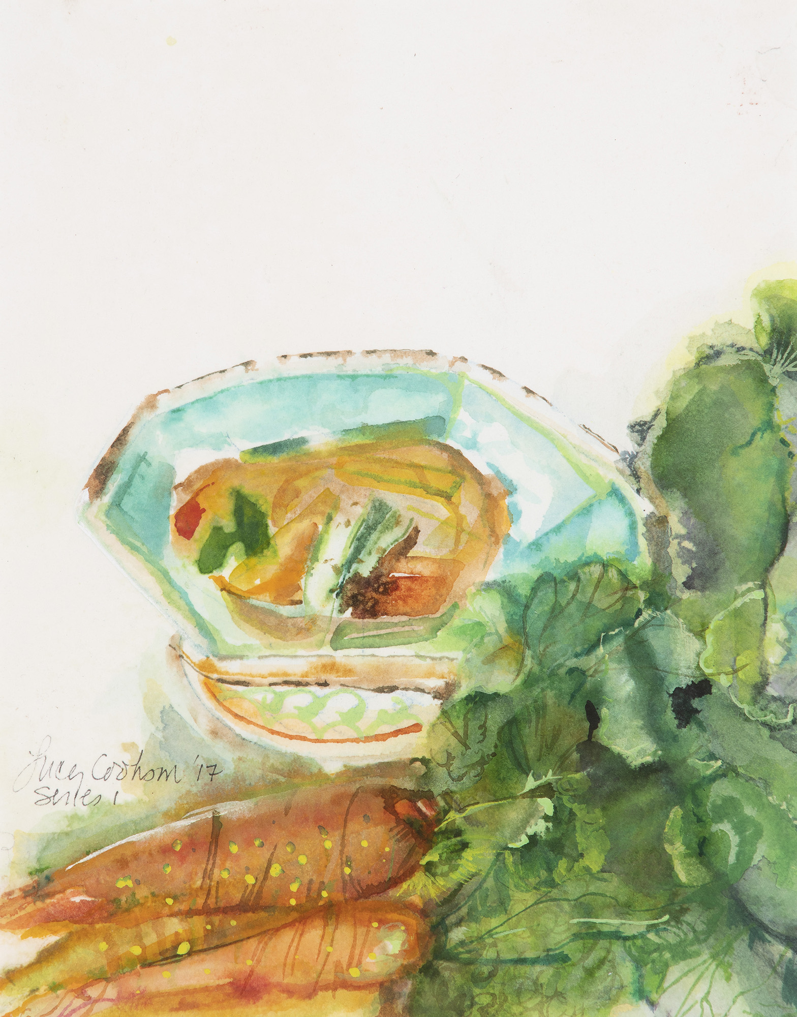 Carrots and Soup, 2017, Watercolor on paper, 12 x 10 in.