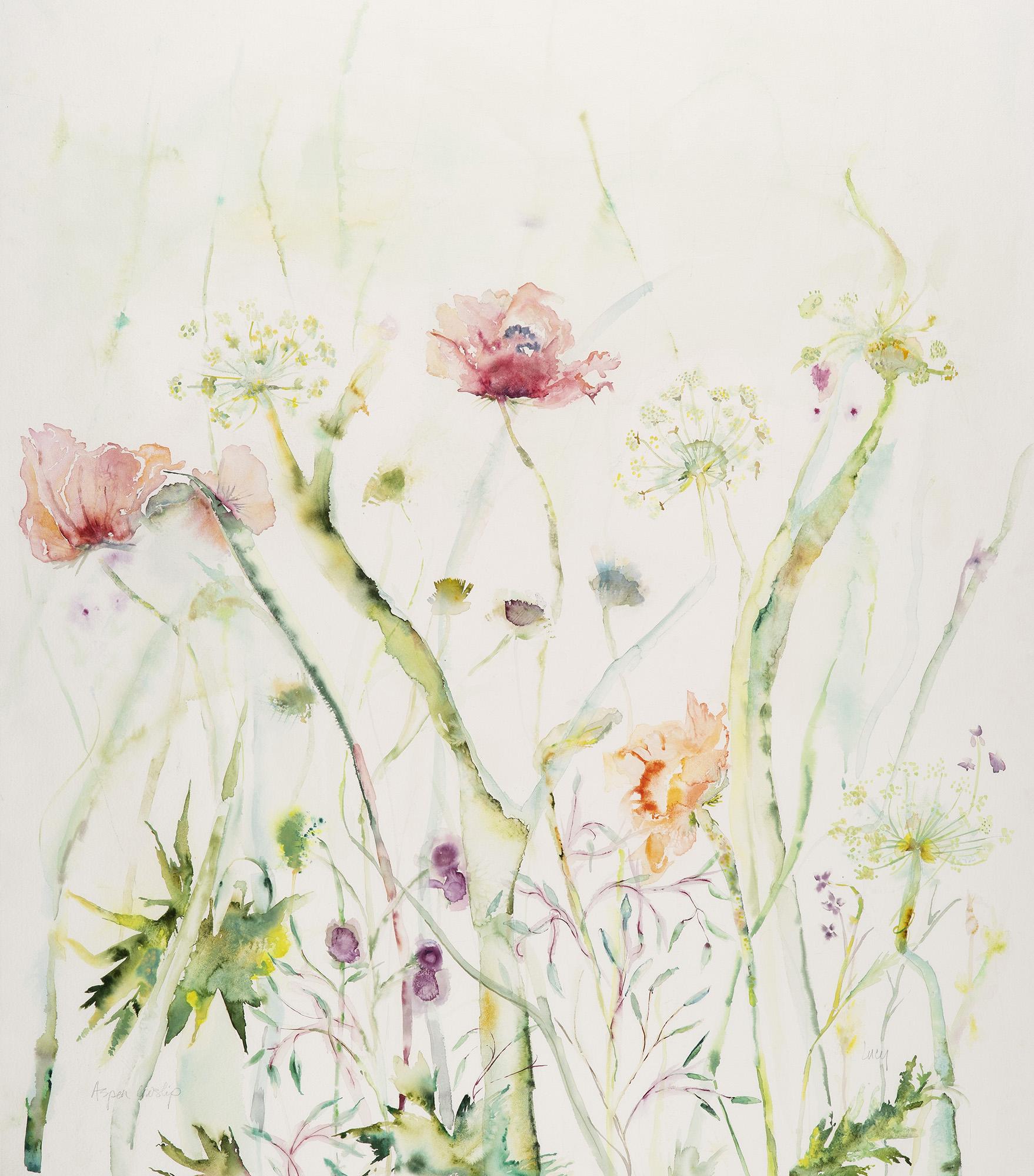 Aspen Cowslips, 2012, Watercolor on paper, 45 x 40 in.