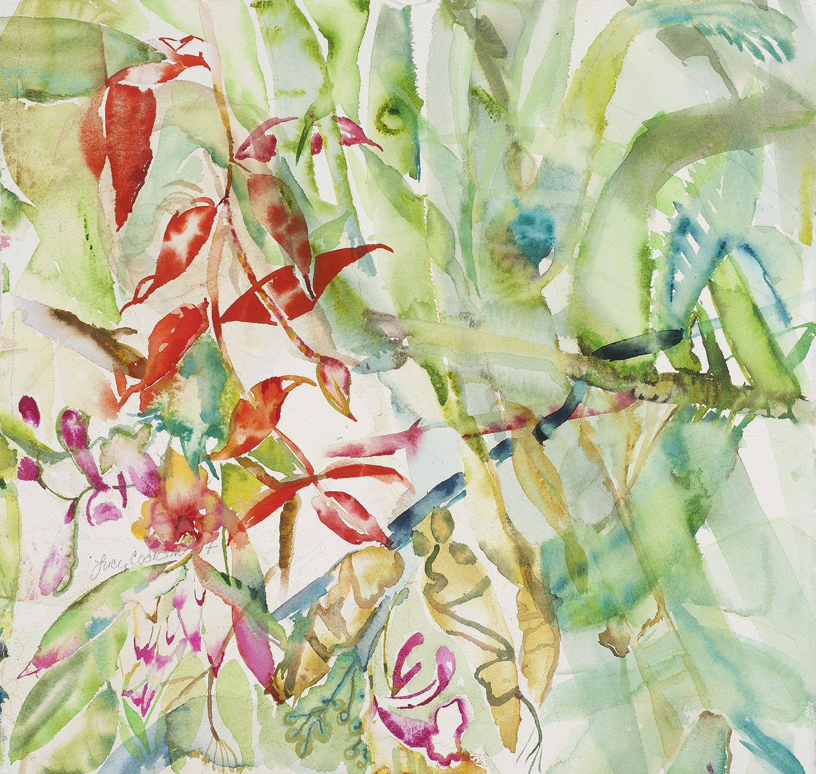 Leaves and Flowers, 2017, Watercolor on paper, 25 x 26 in.