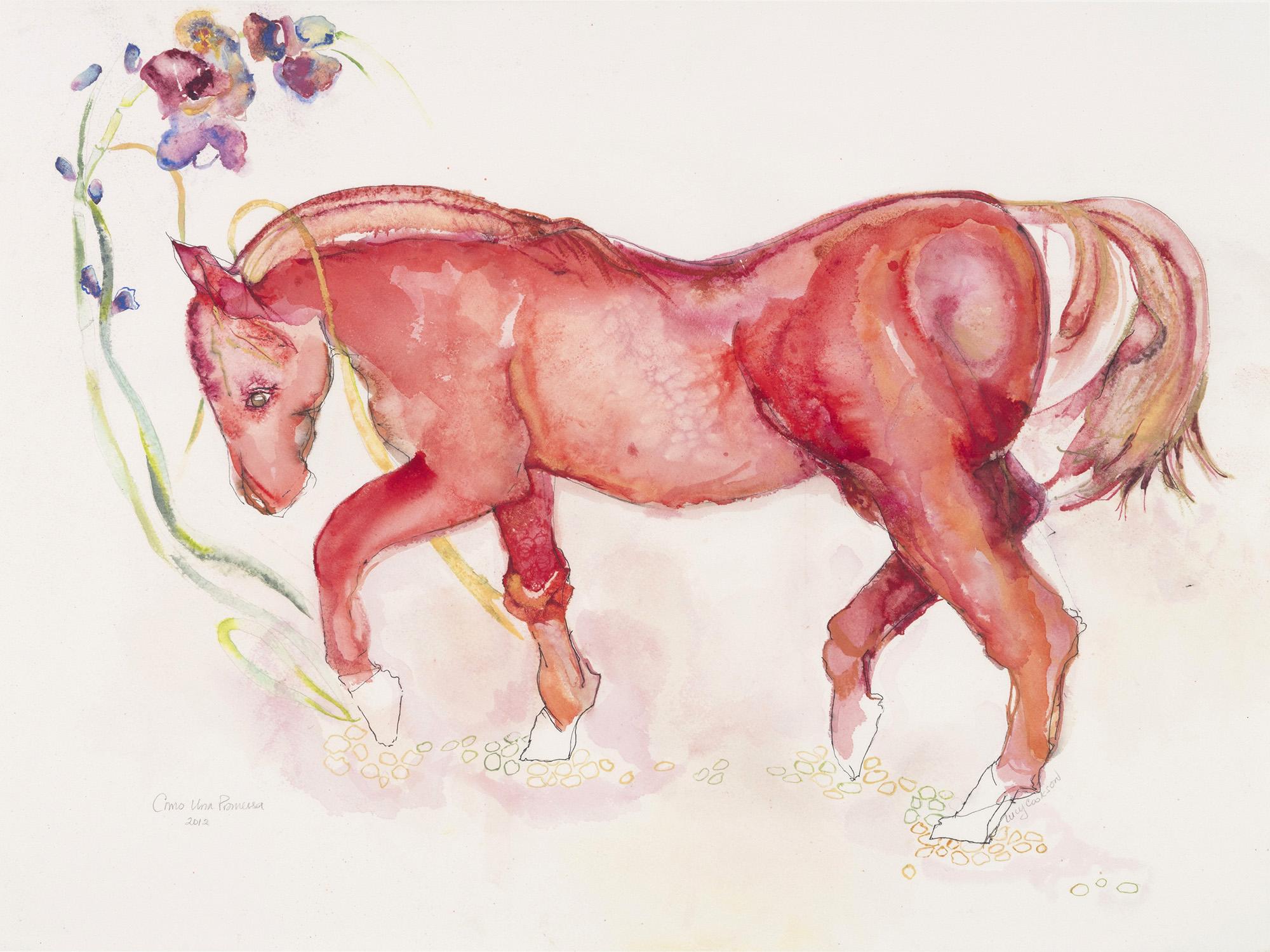 Red Horse (Como una Promessa), 2012, Watercolor on paper, 26 x 32 in.