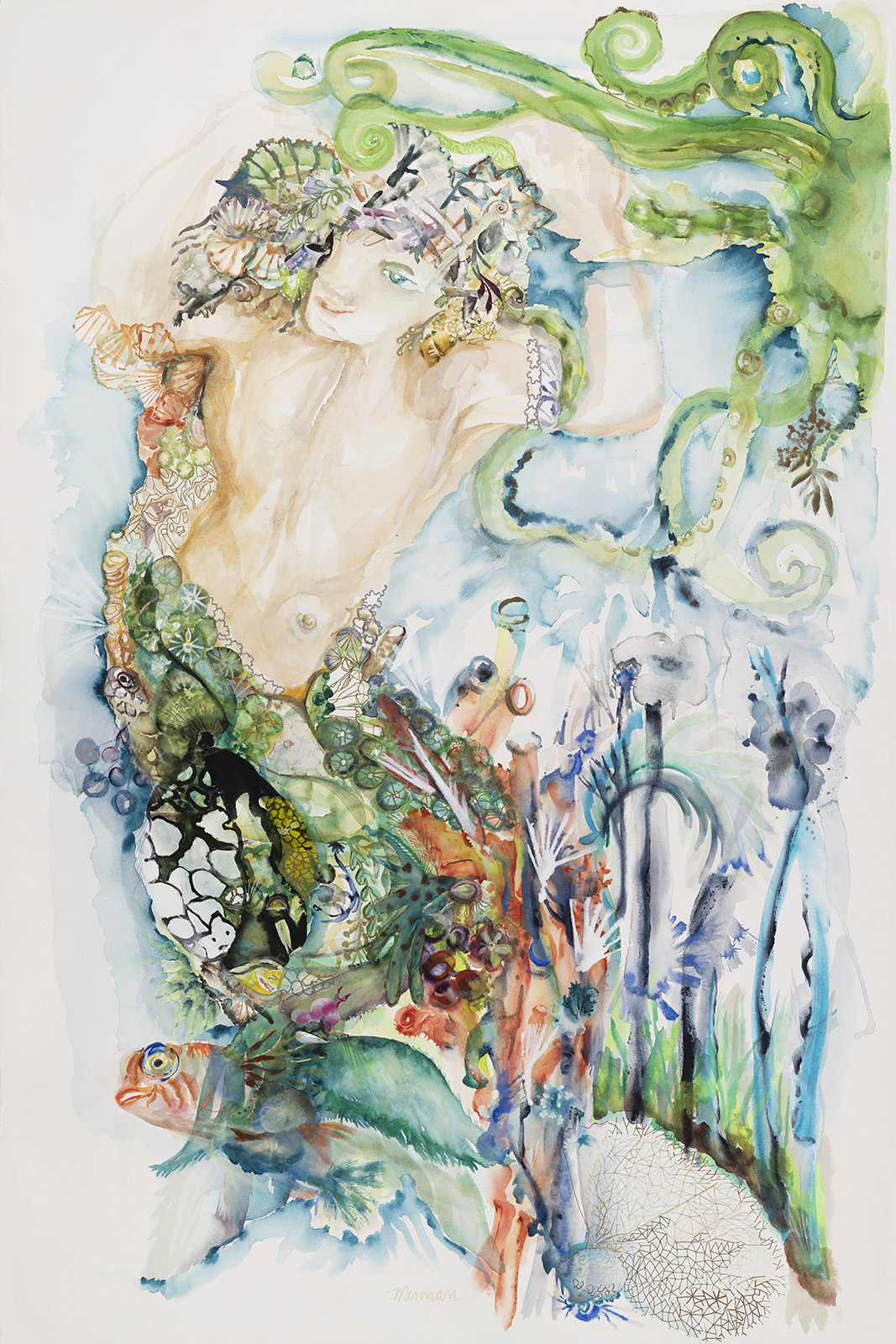 Merman I: Nowhere Man, 2019, Watercolor and gouache with acrylic on paper, 68 x 46 in.