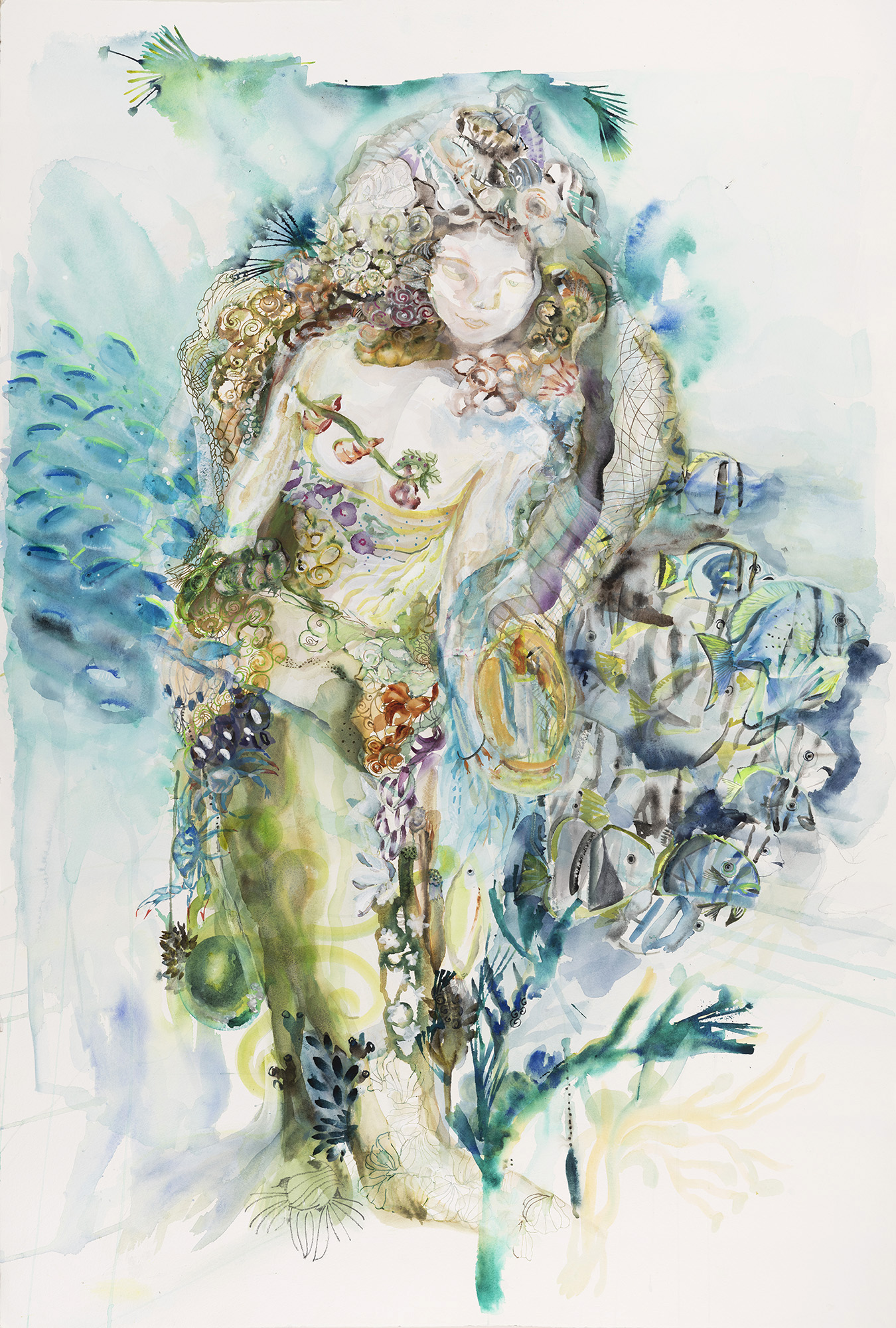 Marina in the Morning or Lady Madonna, 2019, Watercolor on paper, 60 x 40 in.