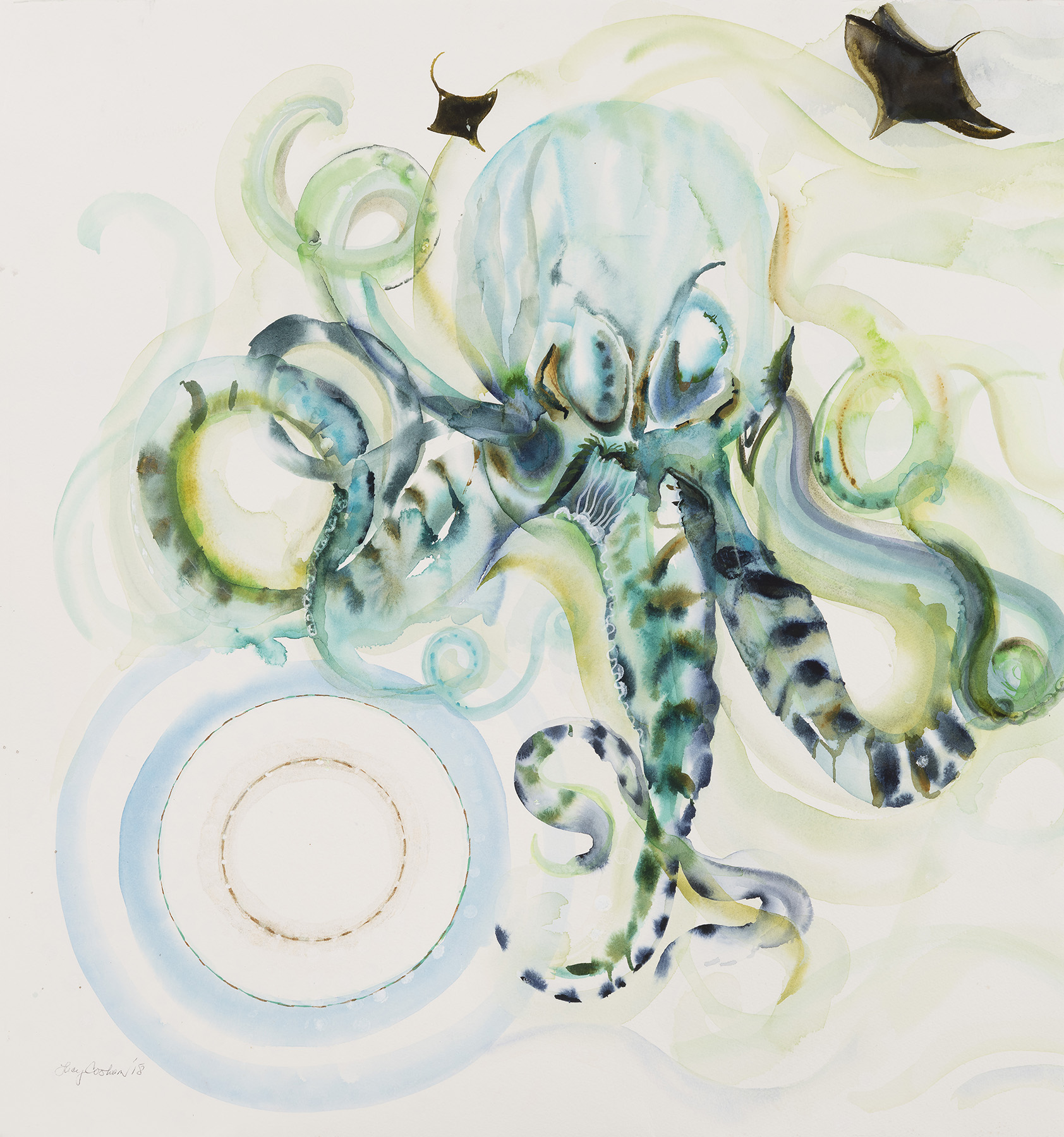 Octo in Nueve or Do You Want to Know a Secret, 2018, Watercolor and gouache on paper, 40 x 38 in.