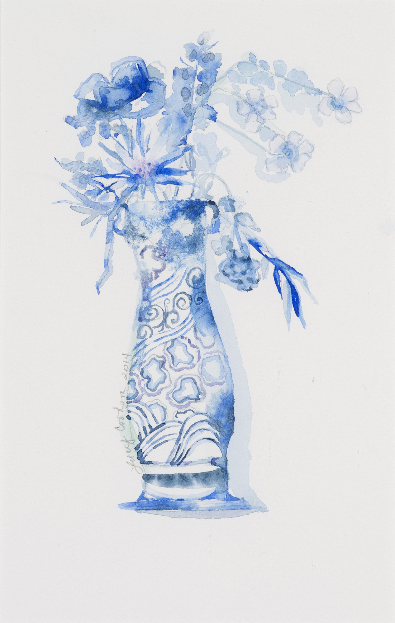 Blue Series I, 2014, Watercolor on paper, 17 x 13 in.