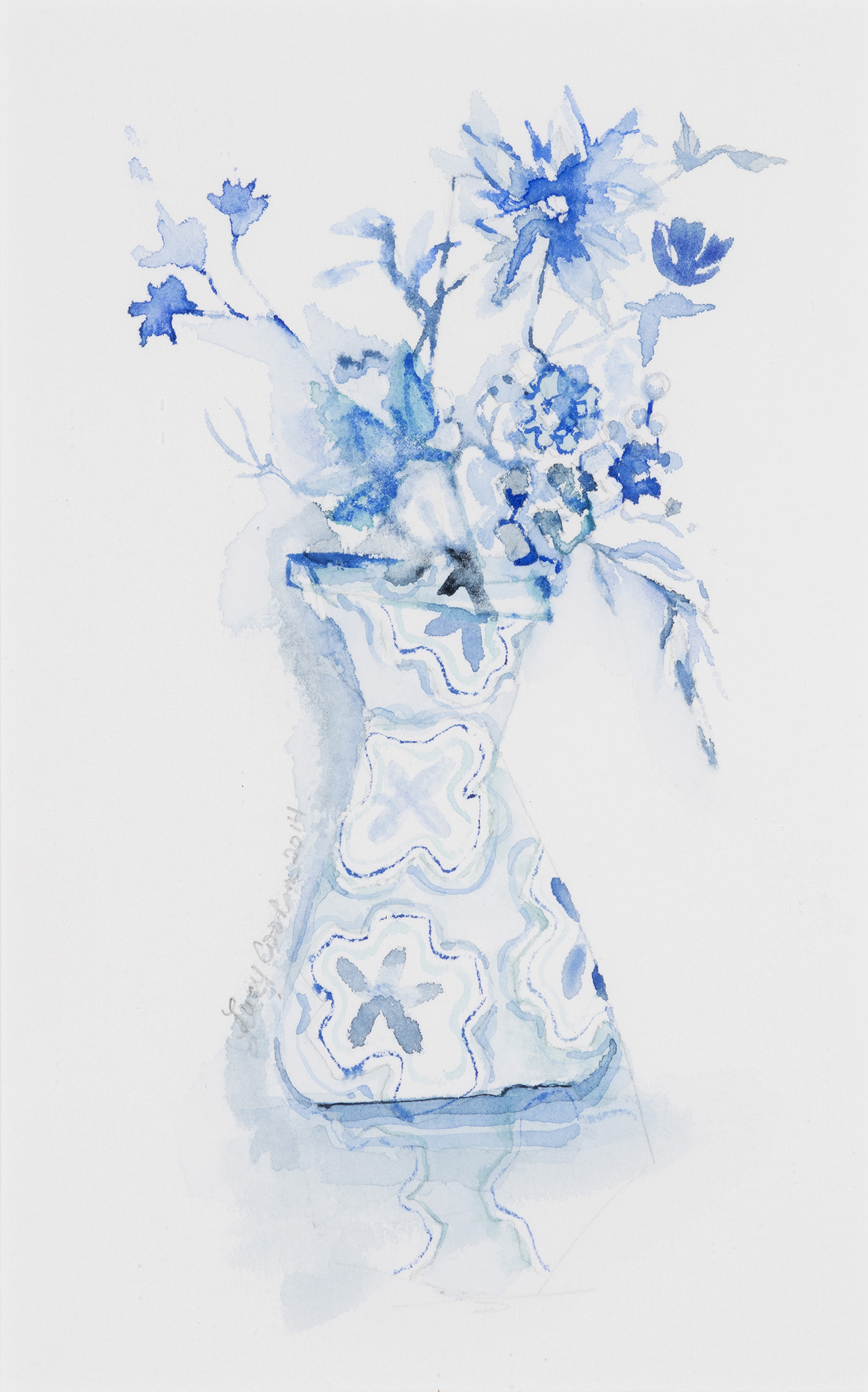 Blue Series II, 2014, Watercolor on paper, 17 x 13 in.