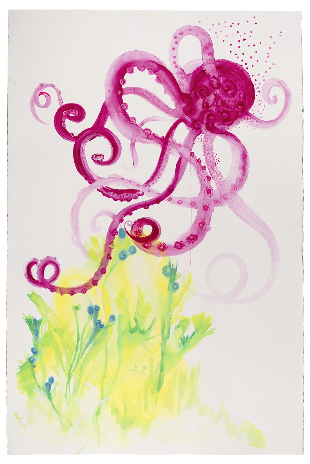 Marjery in an Octopus's Garden, 2019, Watercolor on paper, 60 x 40 in.