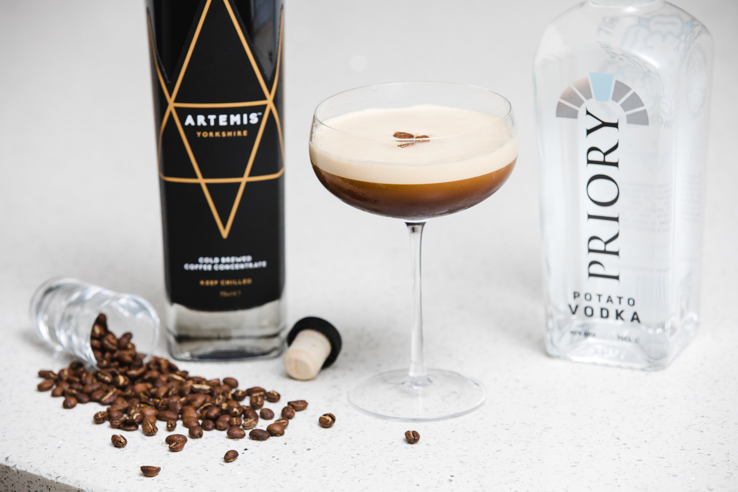 Espresso Martini - It's the new classic everyone's talking about. A rich blend of Priory Vodka and delicious Artemis Cold Brewed Coffee Concentrate with a hit of vanilla makes this cocktail a firm favourite.