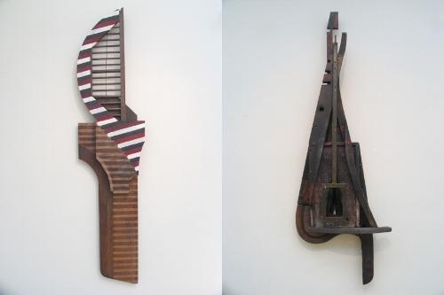 "Sculptures at the Swan Gallery in ""Wabi Sabi"" exhibit."