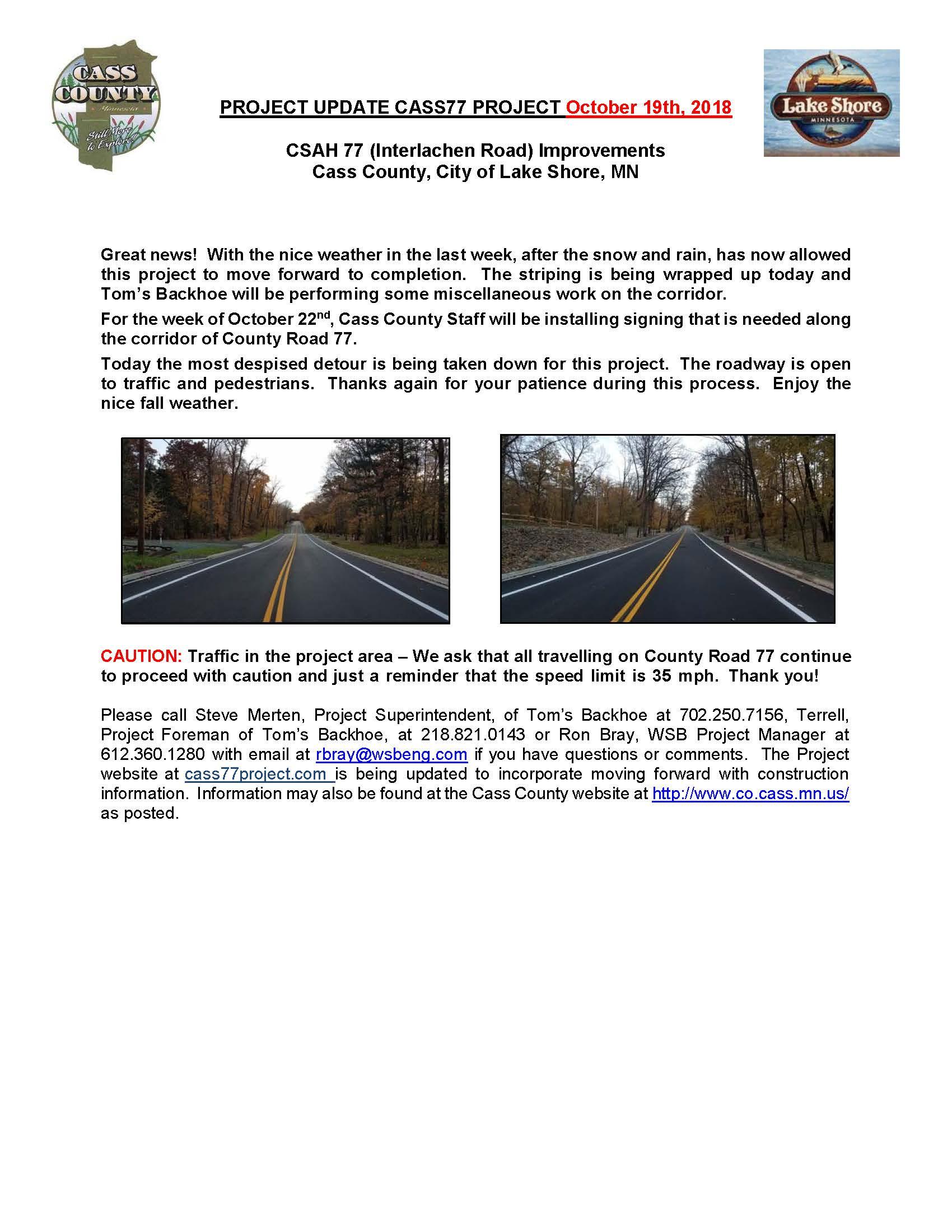 Cass County CSAH 77 Project update October 19th 2018.jpg