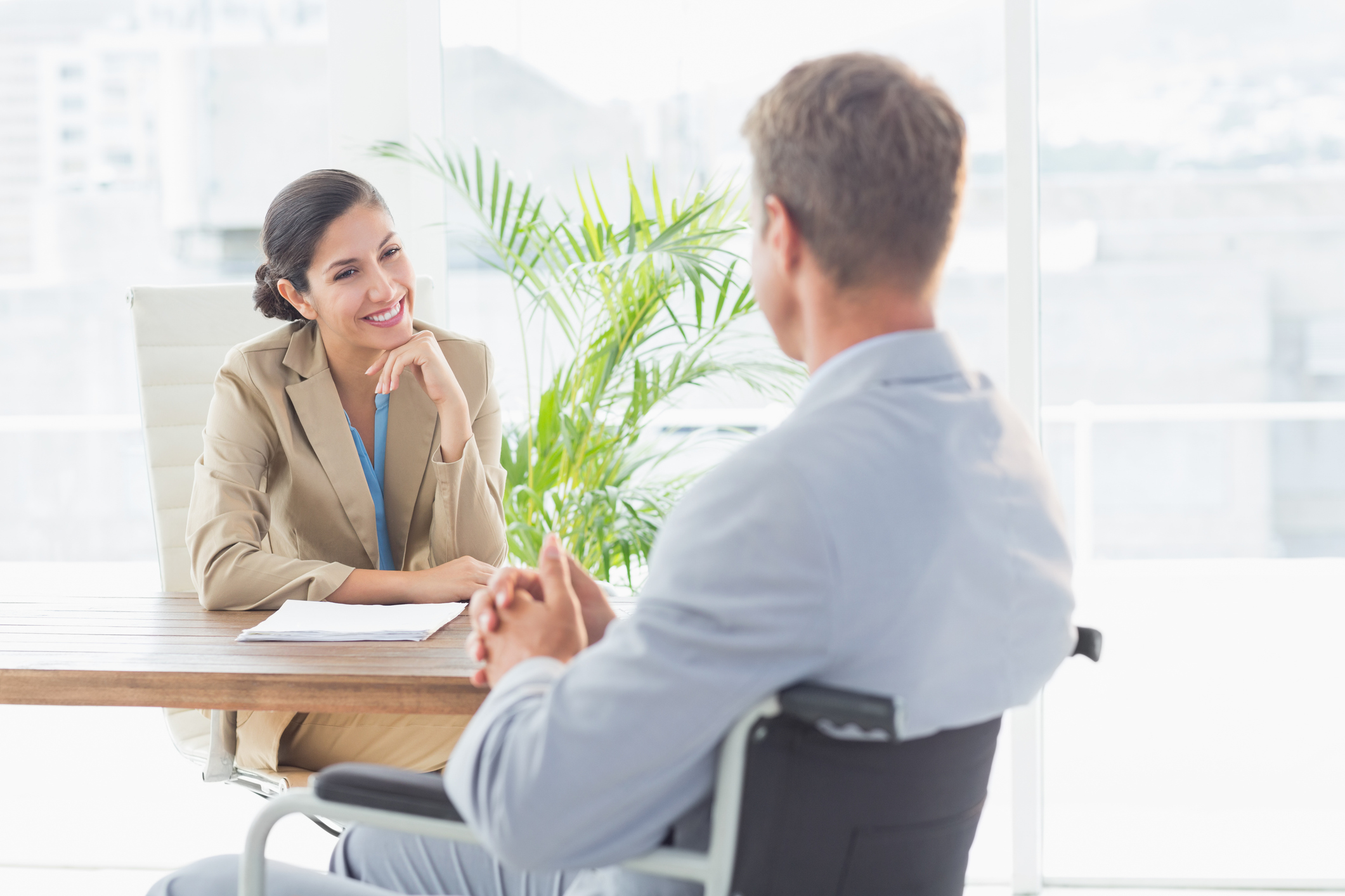 Woman Interviewing Dad