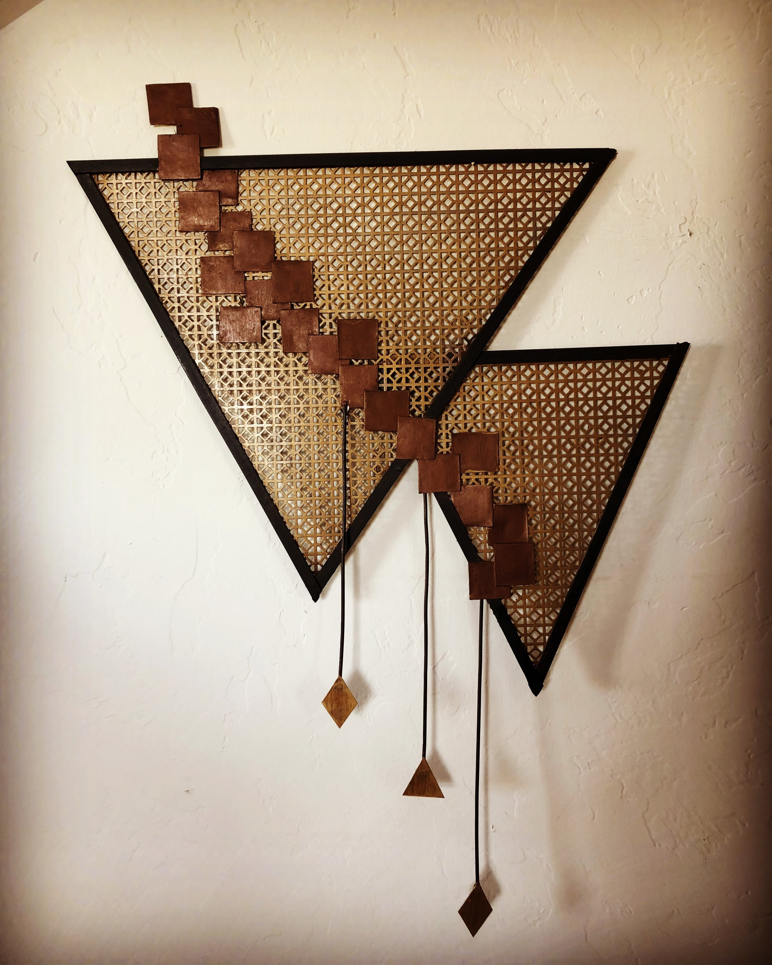 Two Triangles is 28 inches tall by 20 inches wide.