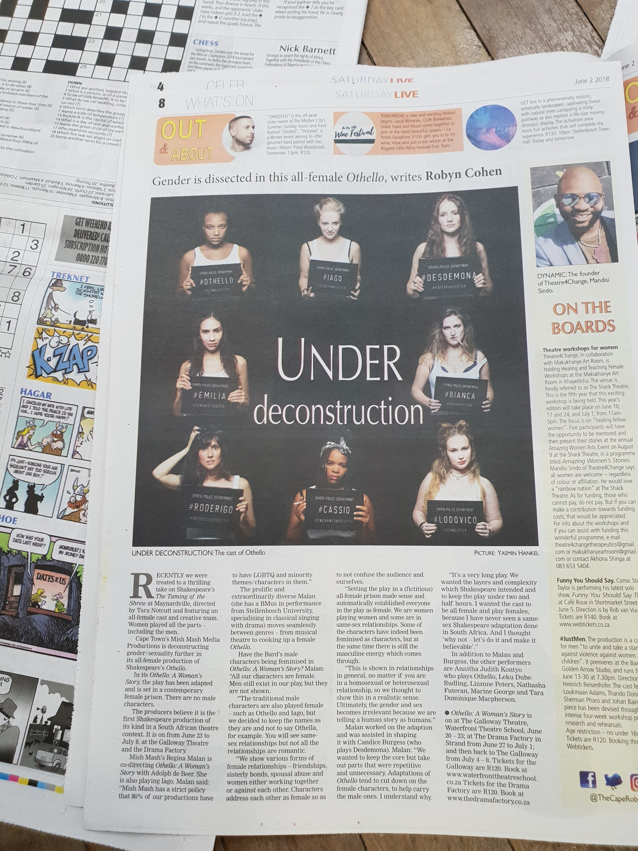The Cape Argus Weekend features Othello: A Woman's Story