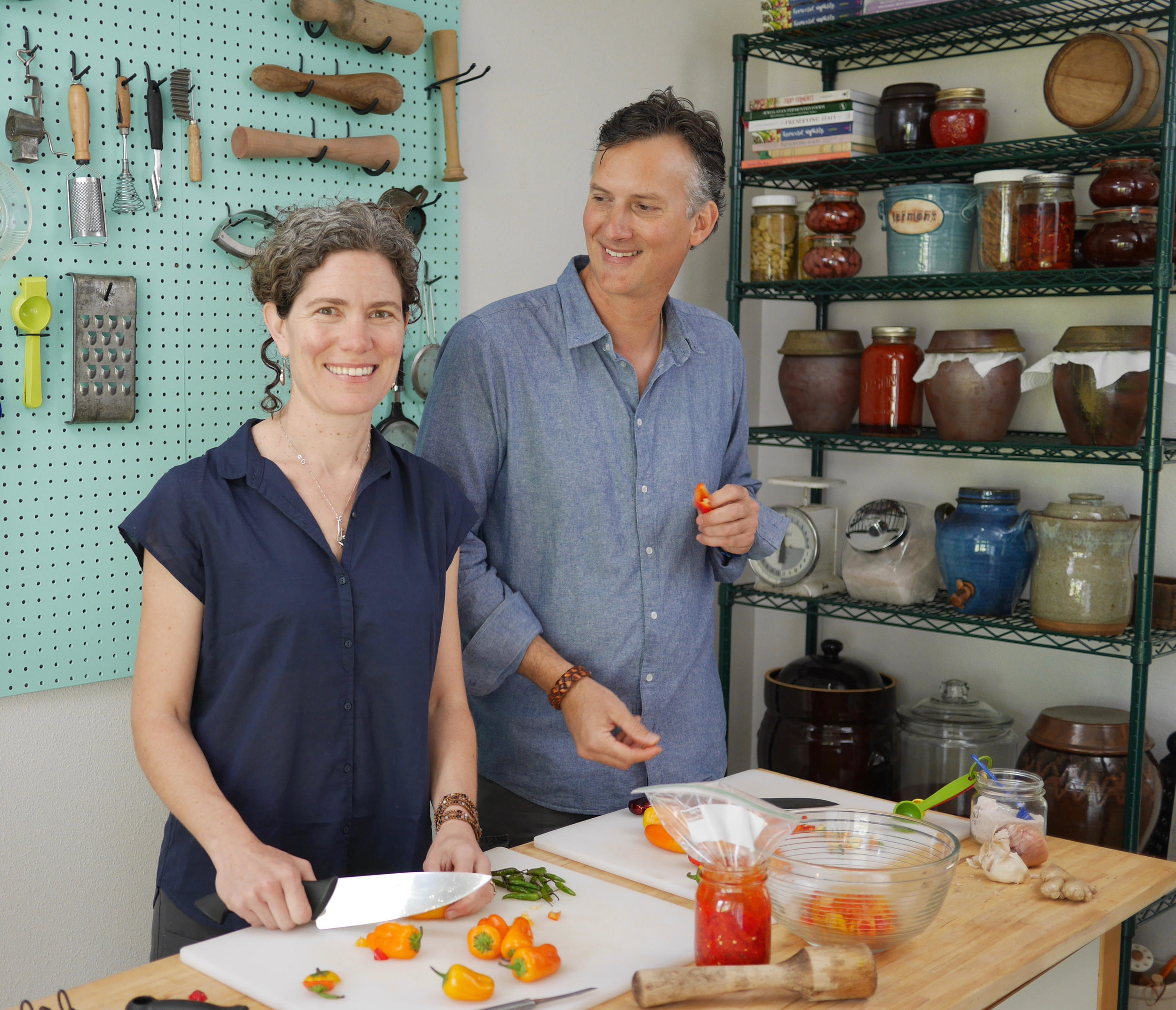 KIRSTEN + Christopher SHOCKEYKirsten and Christopher Shockey got their start in fermenting foods with their organic food company, where they created over forty varieties of saurkrauts and kimchis. When they realized their passion was for the process, they chose to focus on teaching the art of fermenting vegetables. They teach classes nationally and on their 40-acre hillside homestead in the Applegate Valley of Southern Oregon, where they have cultivated a handmade life for the last 19 years. They are co-authors of two books on fermentation, best-selling Fermented Vegetablesand the new Fiery Ferments Learn more at ferment.works. -