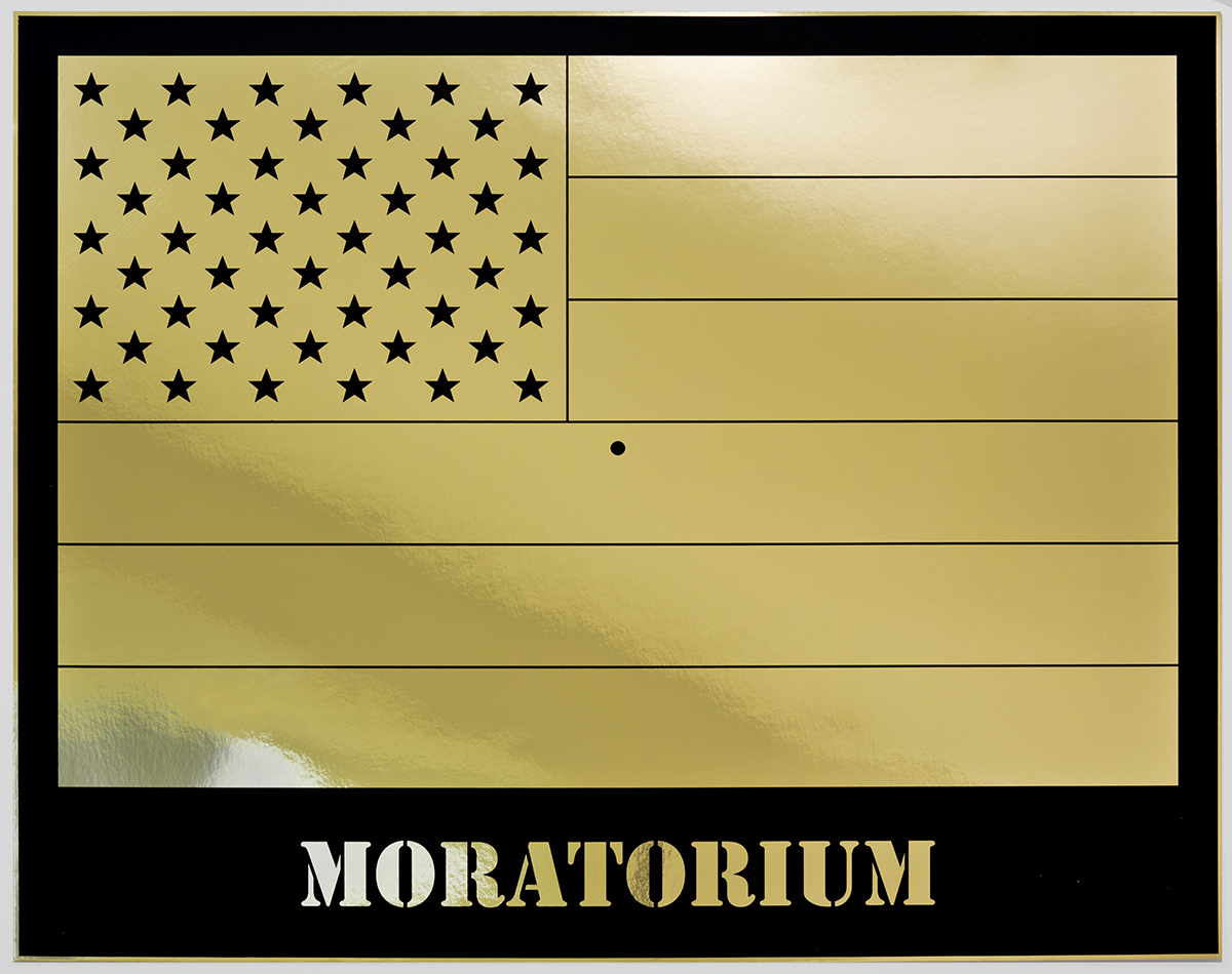 Jonathan Horowitz: Moratorium (Gold Rainbow American Flag)