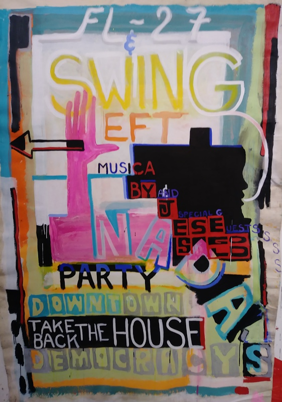 Spencer Sweeney,  Swing Left Party Painting,  2017