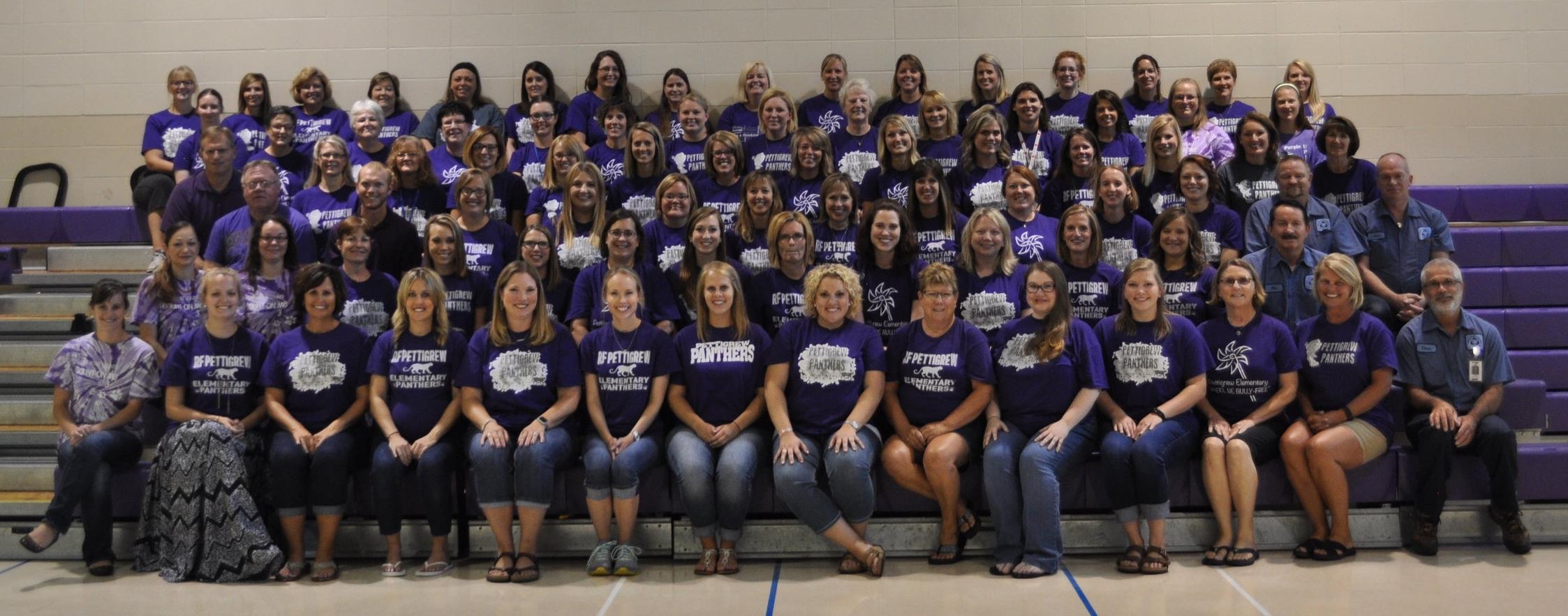 R.F. Pettigrew teachers and staff wearing purple t-shirts.