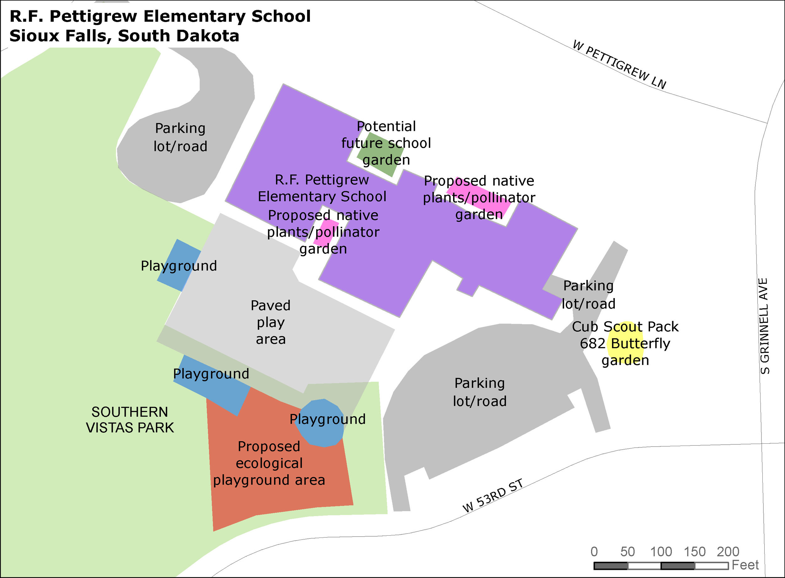 Map of RF Pettigrew campus with potential siting of the Ecological Playground.