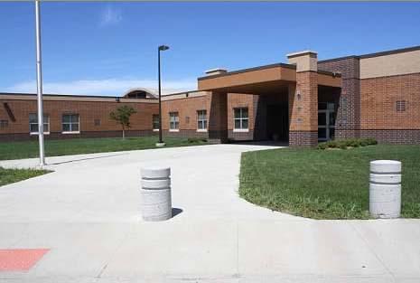 Front door of R.F. Pettigrew Elementary School.