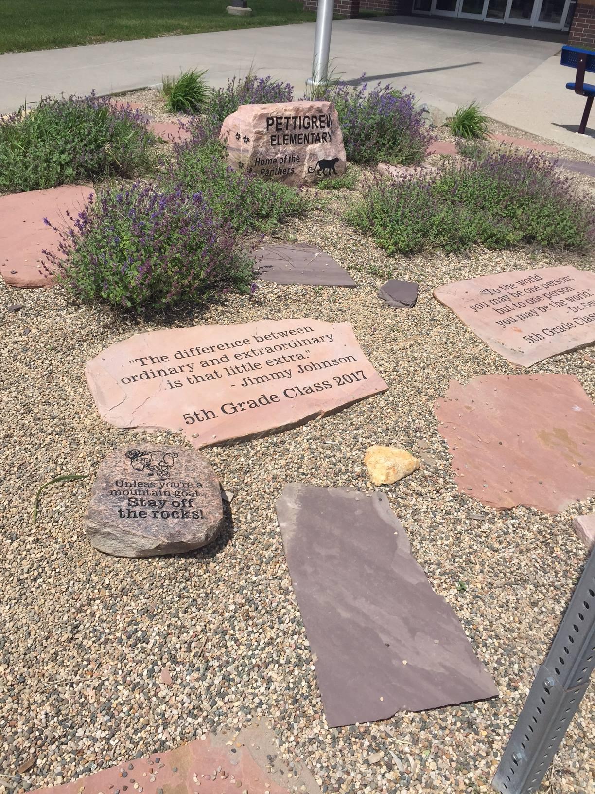 Image of rock garden in front of Pettigrew Elementary school.