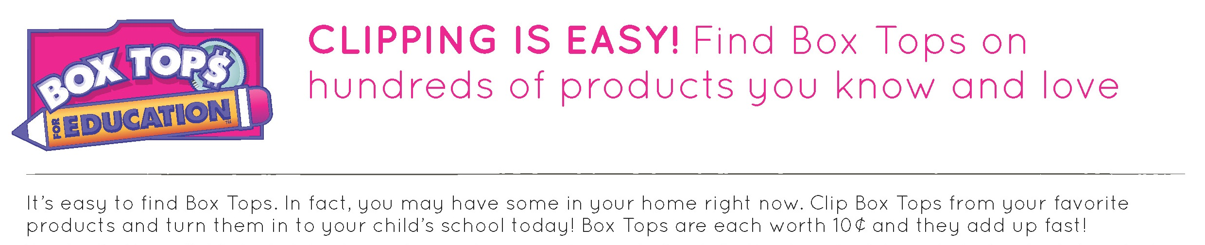 Boxtops for education information banner