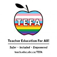 Trans and Queer Rights flag in apple with words Teacher Education For All