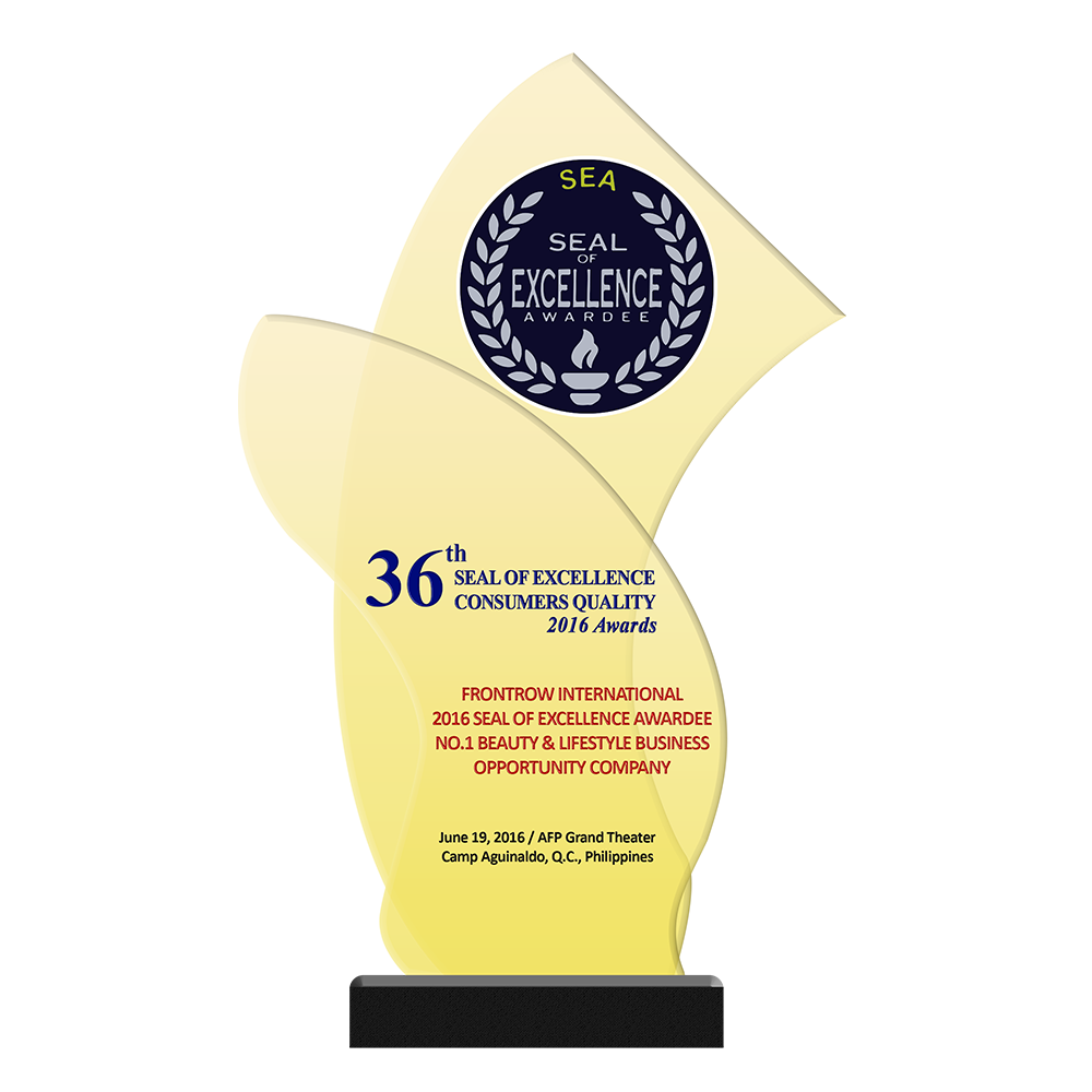 36th SEAL of EXCELLENCE CONSUMERS QUALITY Awards   FRONTROW INTERNATIONAL 2016 Seal of Excellence Awardee No.1 Beauty & Lifestyle Business Opportunity Company