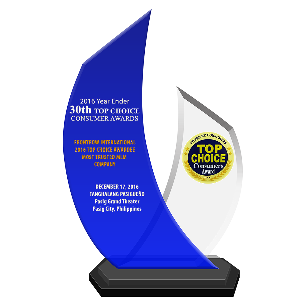 2016 Year Ender 30th TOP CHOICE CONSUMER AWARDS   FRONTROW INTERNATIONAL 2016 Top Choice Awardee Most Trusted MLM Company
